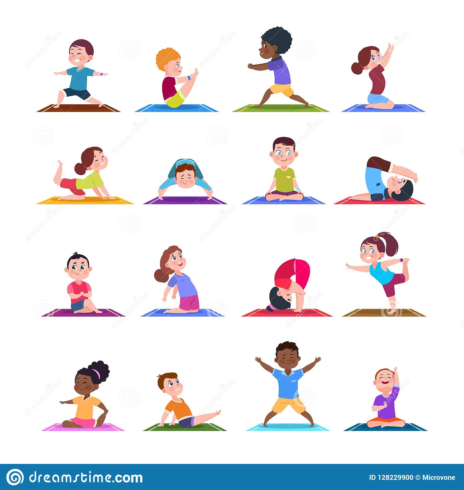 Barn i yoga poserar Tecknad filmkonditionungar i yogaasana Isolerad uppsättning för vektor tecken