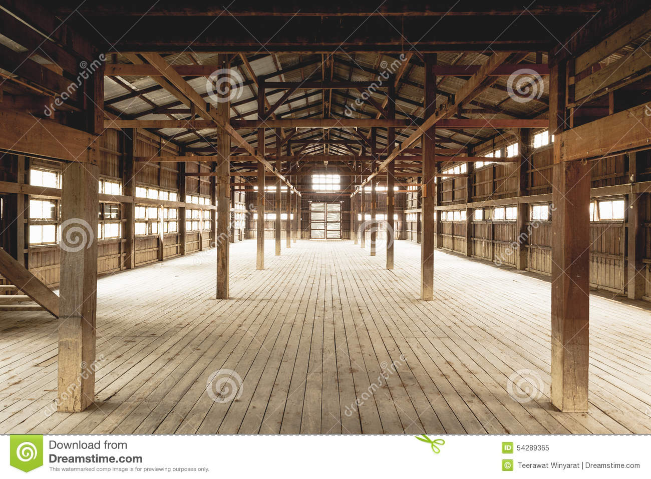 Barn interior wooden construction stock image image of for Wood barn construction