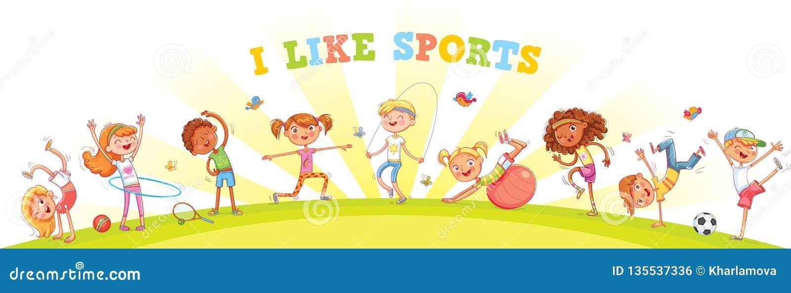 Barn kopplas in i olika sorter av sportar på naturbakgrund