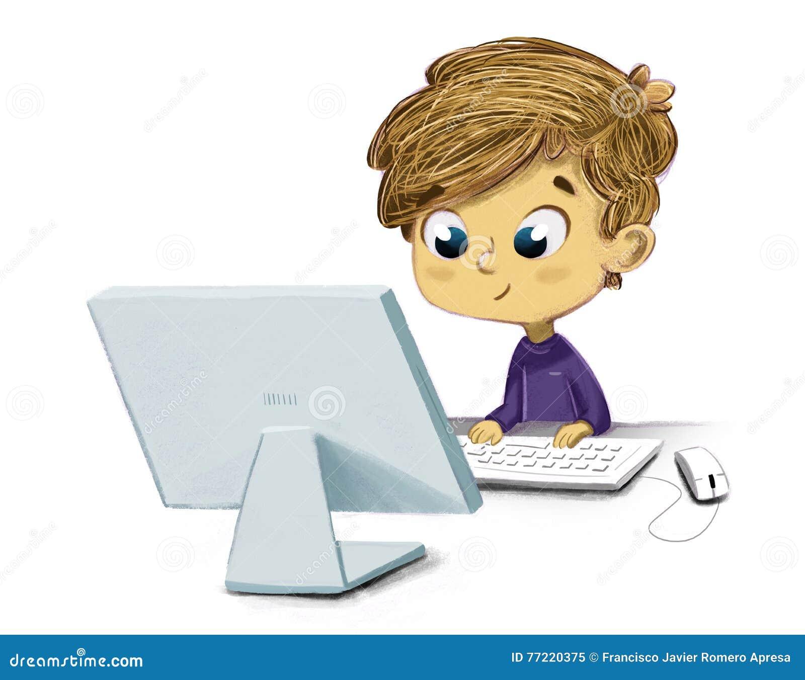Barn med en dator