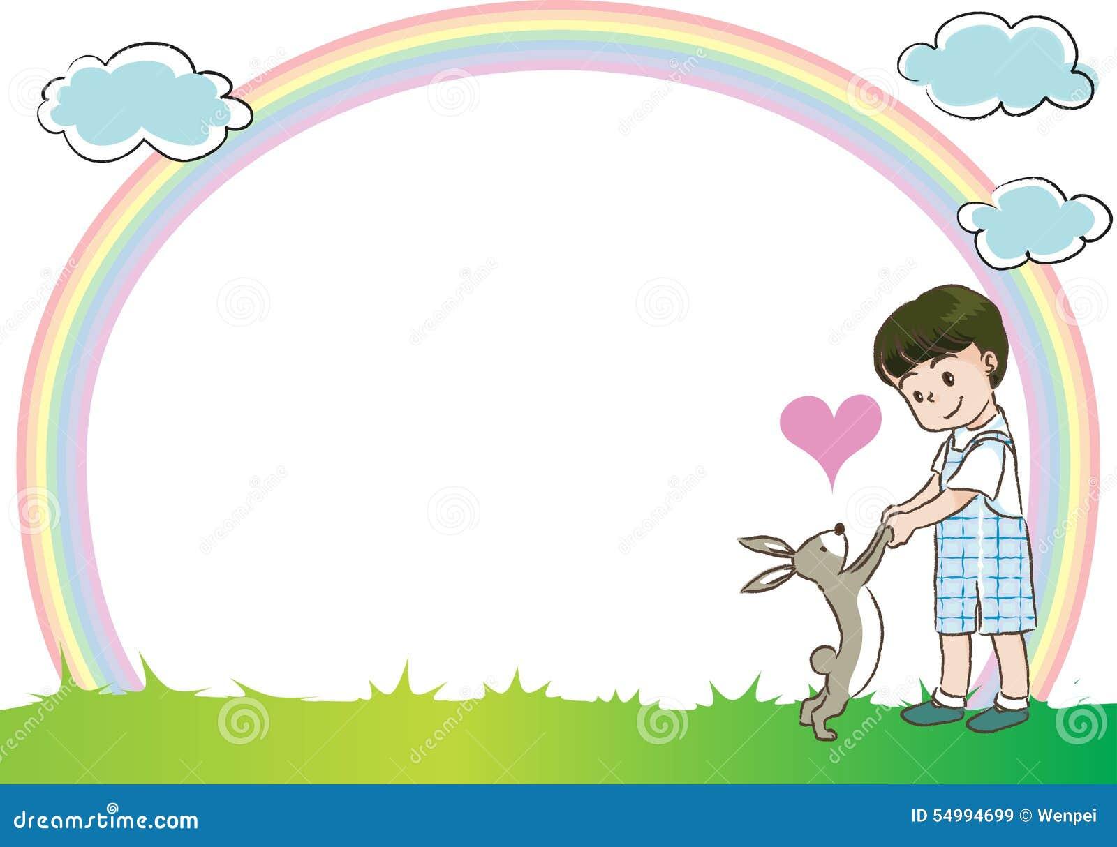 Barn med regnbågen i bakgrunden