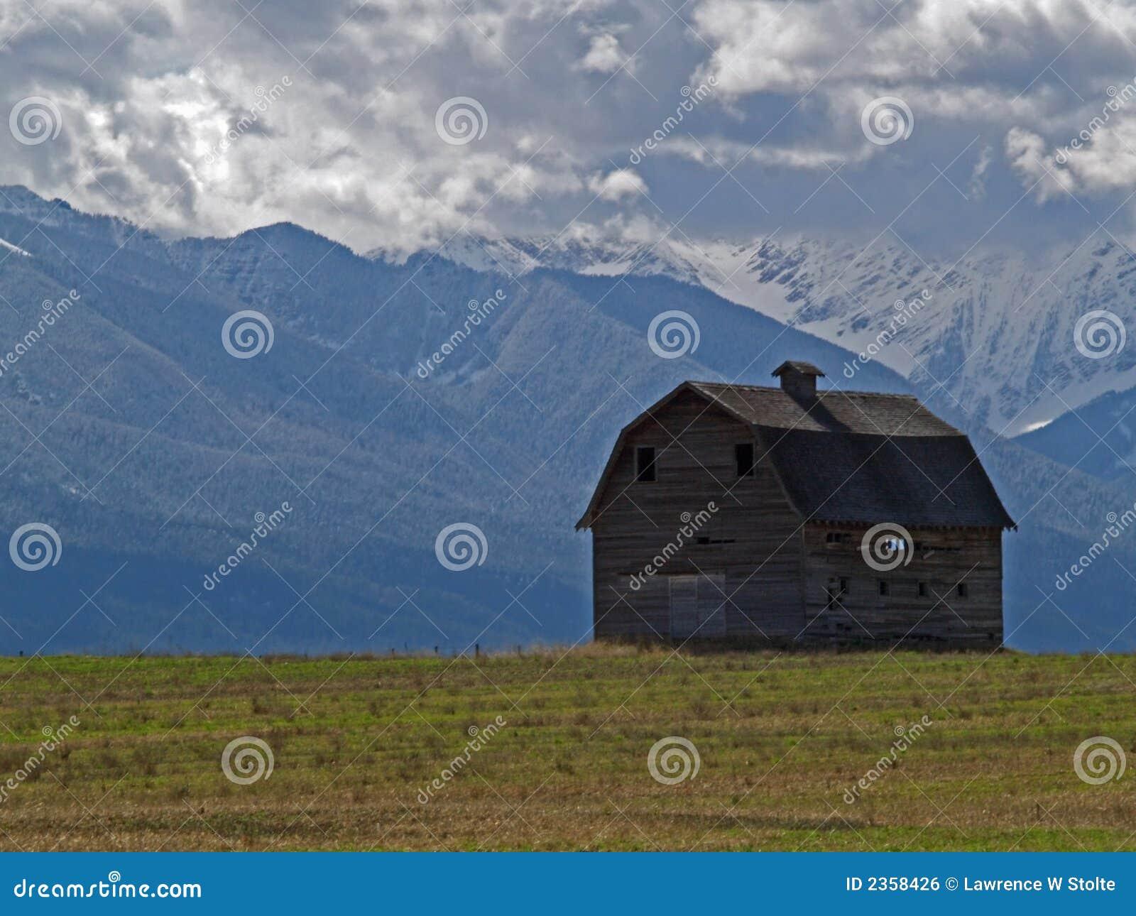 Barn and Mountains