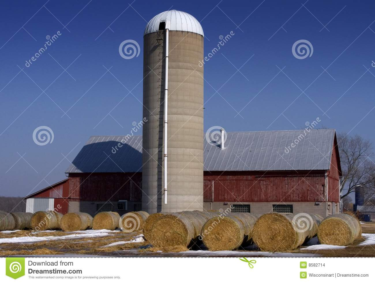 Barn Silo And Hay Dairy Farm Scene Stock Images