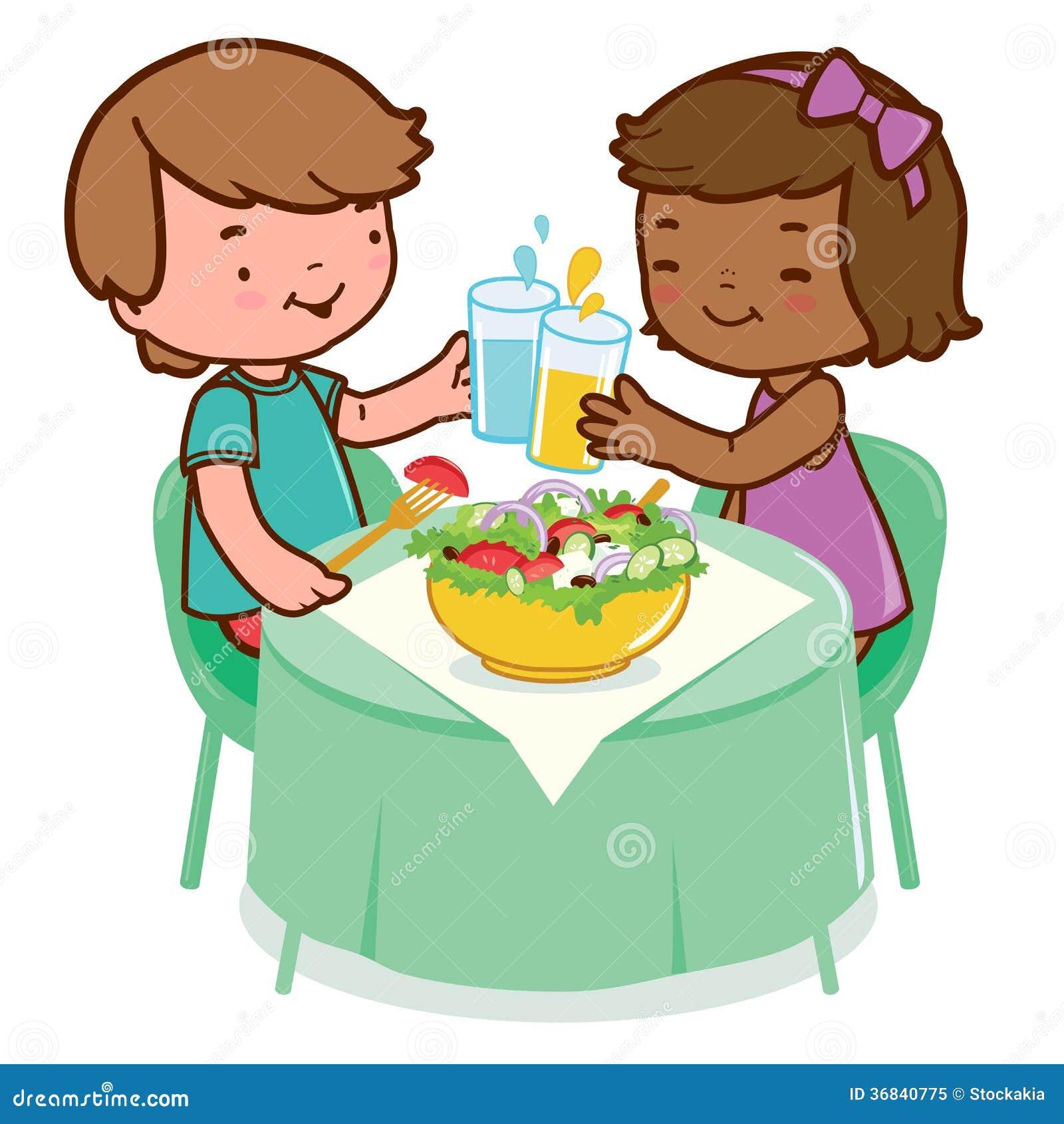 Barn som äter sund mat