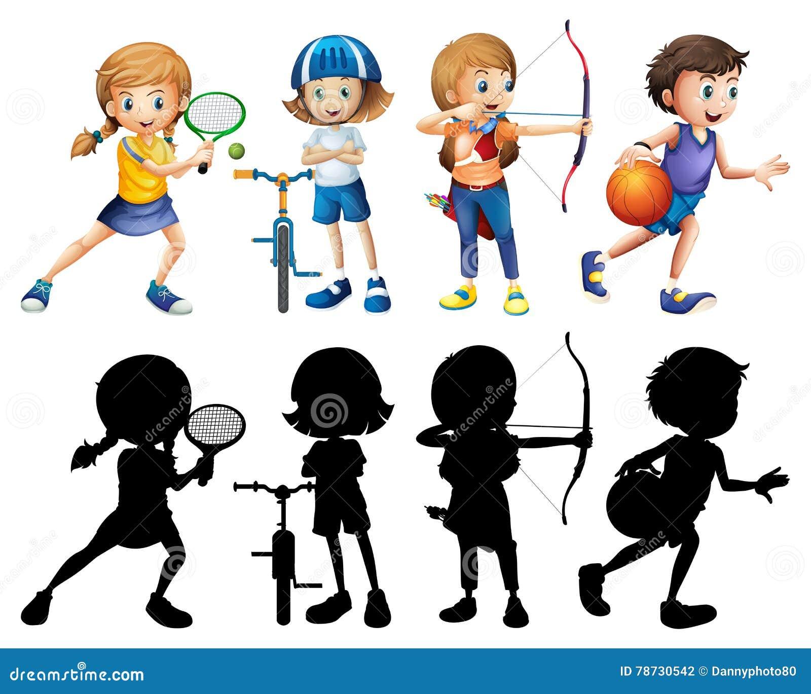 Barn som gör den olika sportuppsättningen med konturn