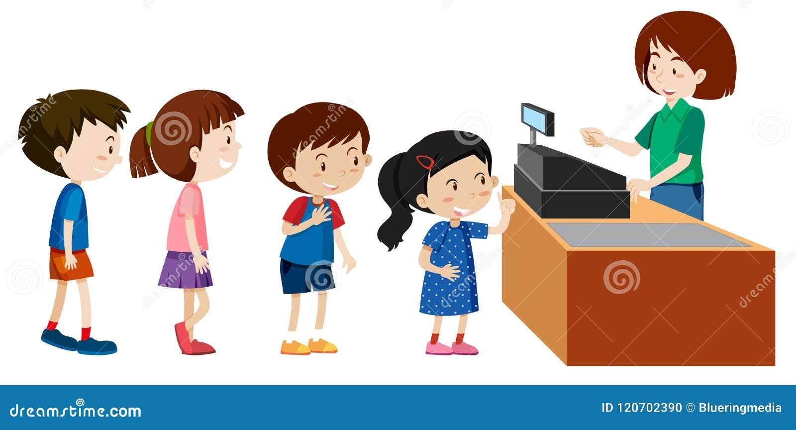 Barn som köper från en kassörska
