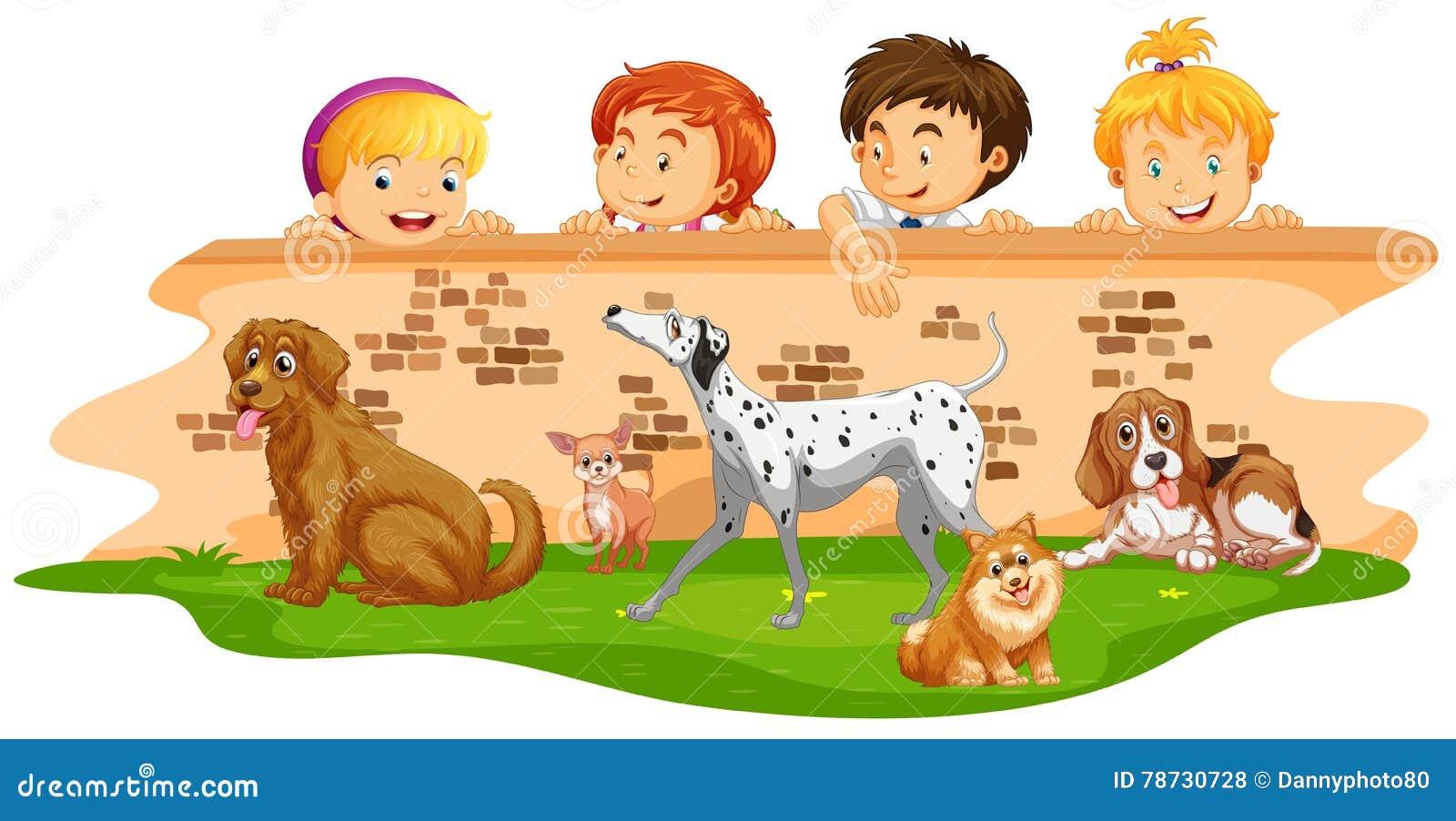 Barn som ser hundkapplöpning över väggen