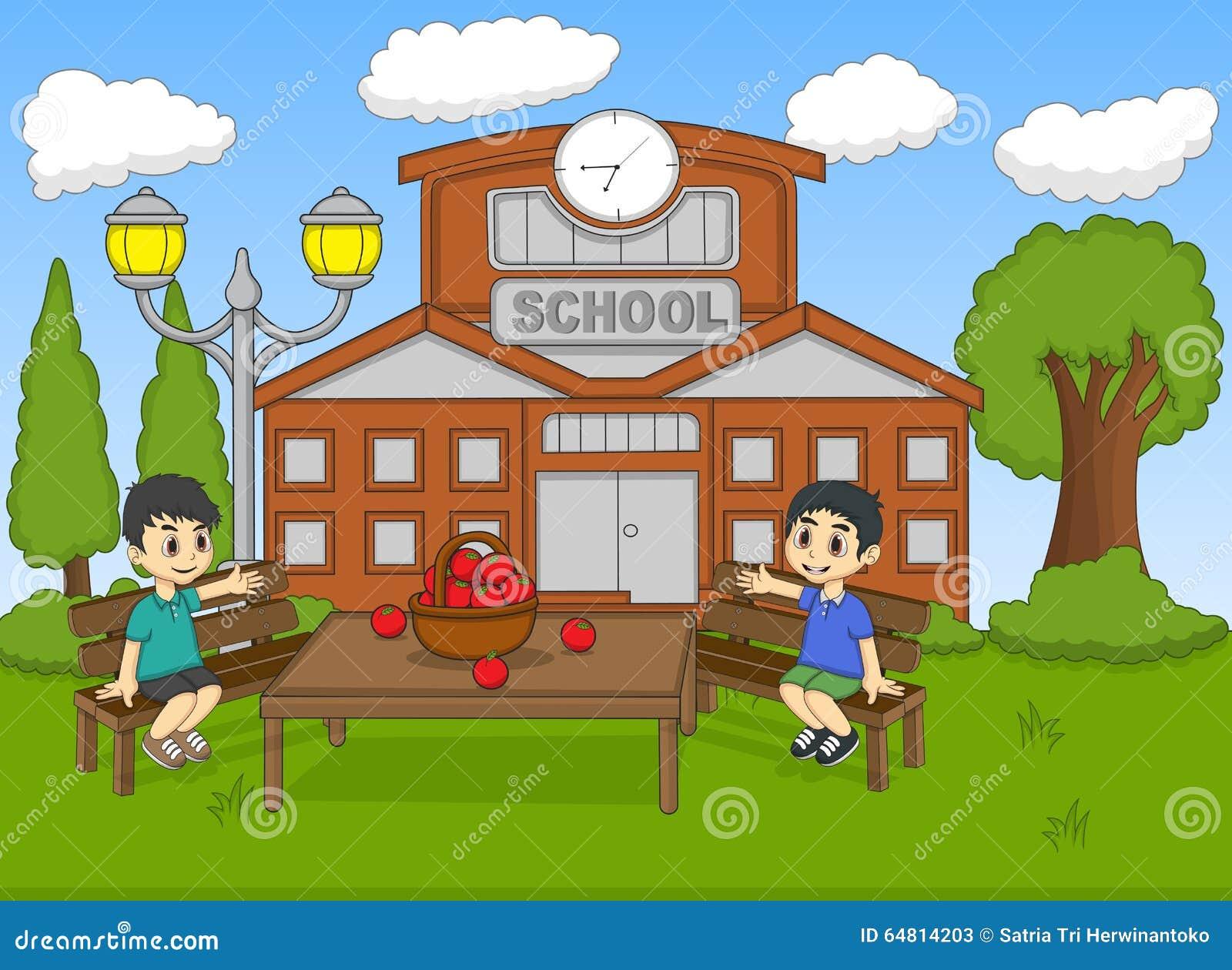 Barn som sitter i skolan, arbeta i trädgården tecknad filmvektorillustrationen
