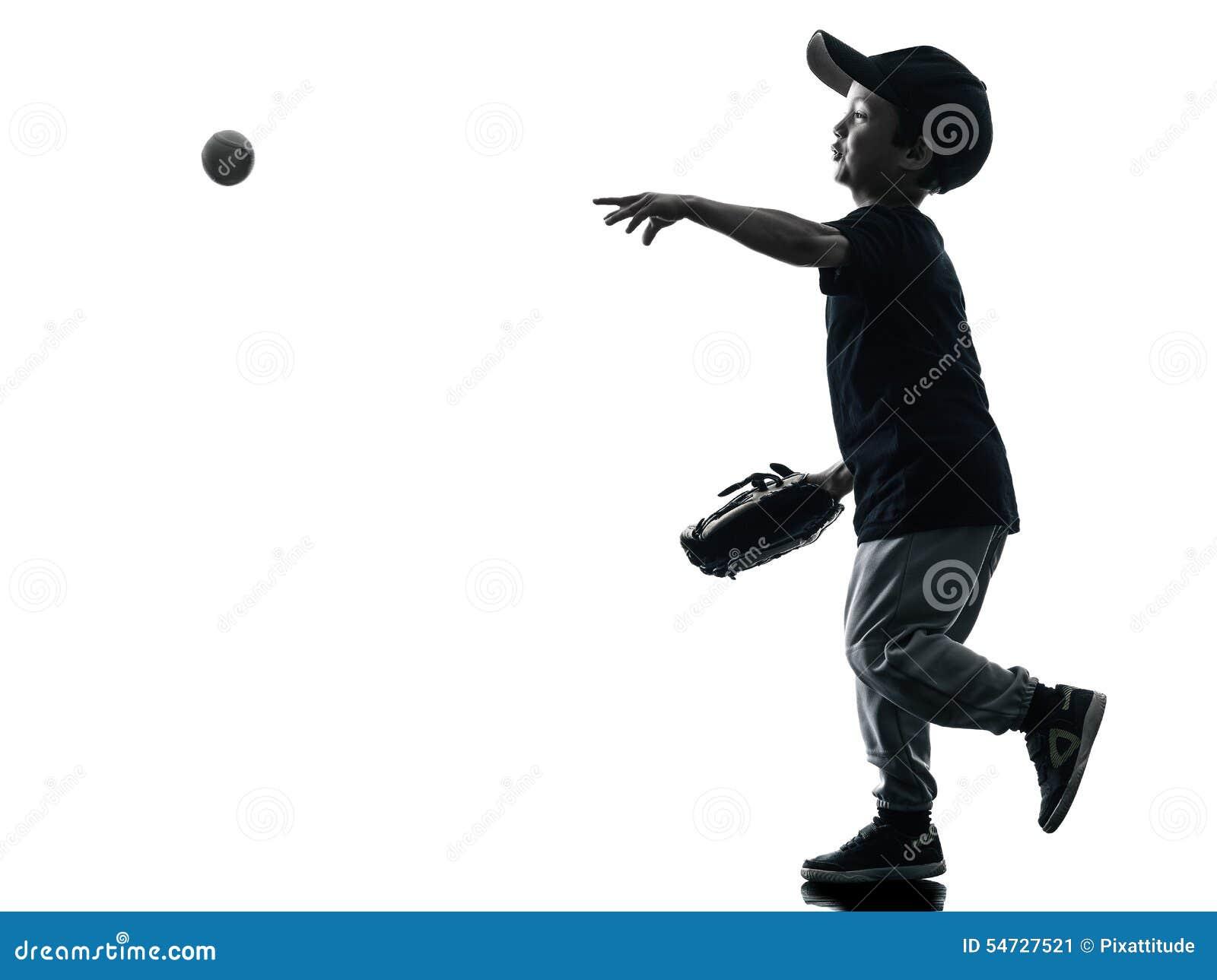Barn som spelar den isolerade konturn för softballspelare