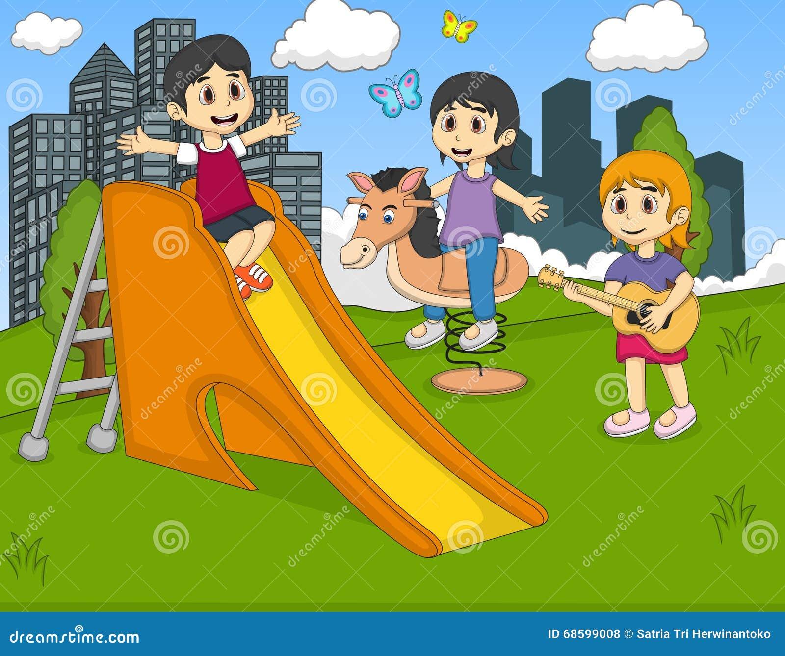 Barn som spelar gitarren som vaggar hästen på parkeravektorn
