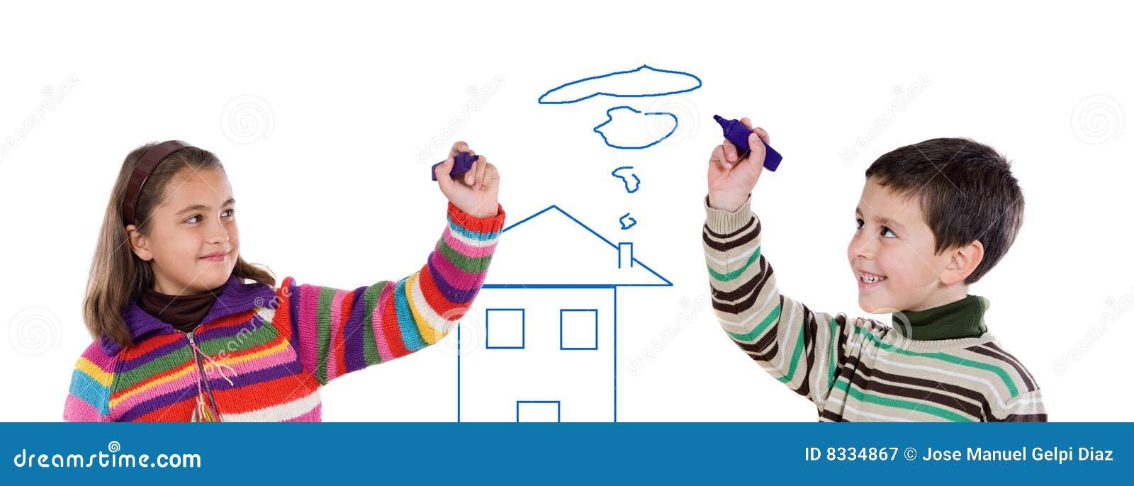 Barn som tecknar hus två