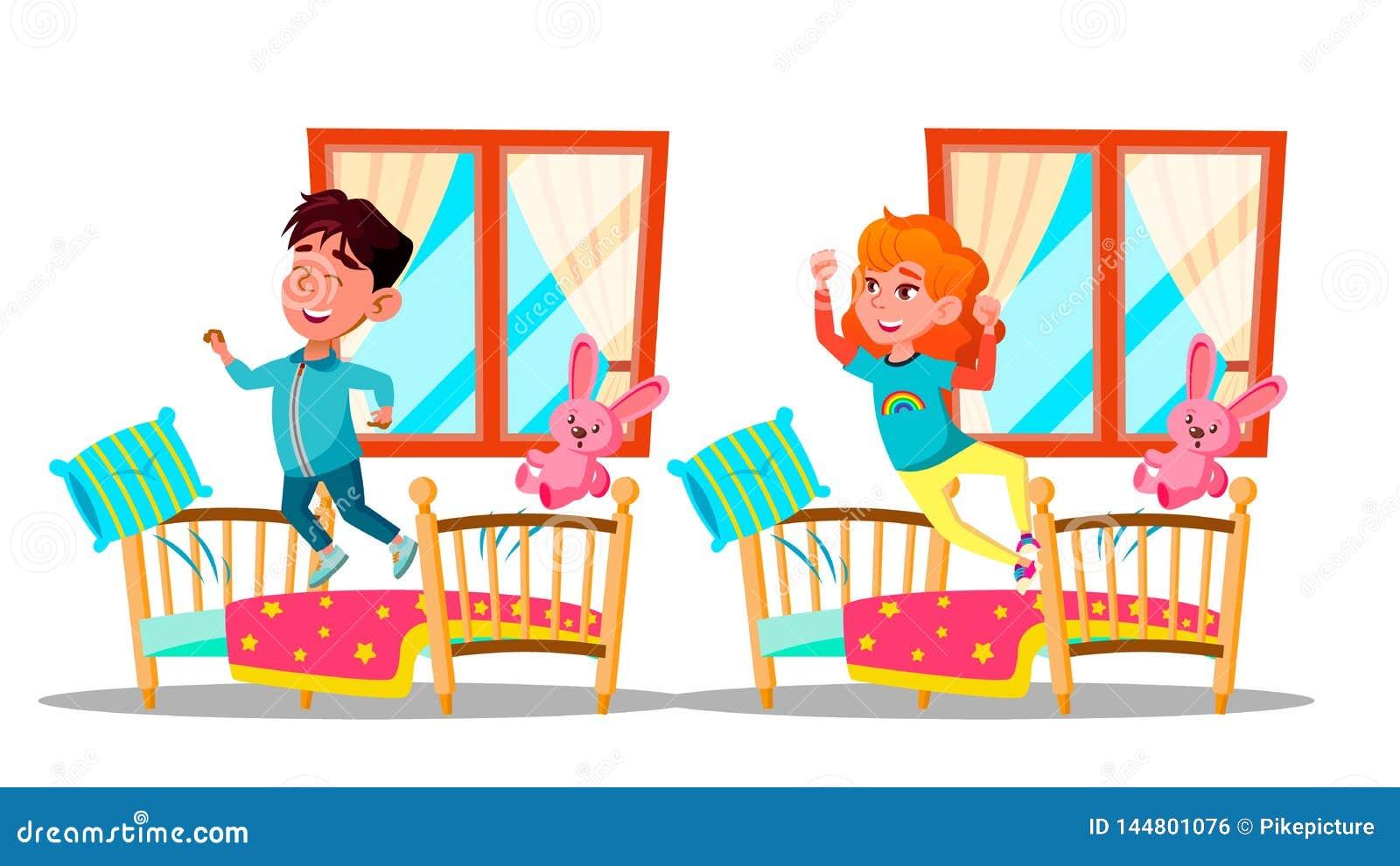 Barn som upp vaknar uppsättningen för vektortecknad filmtecken