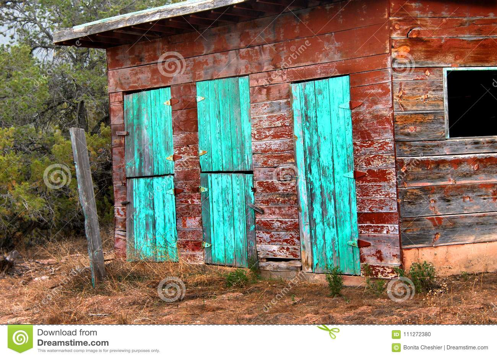 Barn With Turquoise Doorway Stock Photo Image Of Weathered Worn