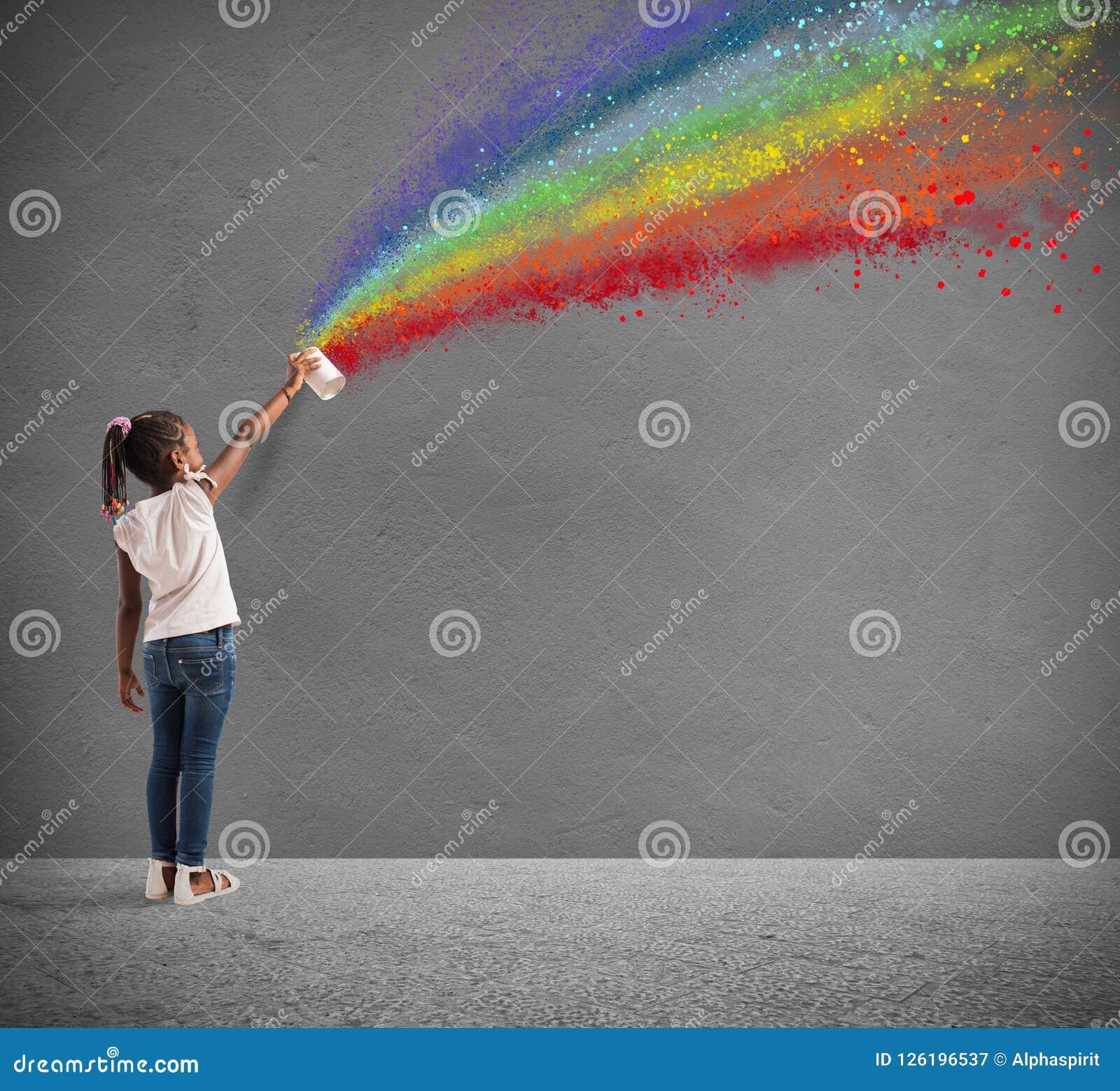 Barnet drar med sprej färgen av fred