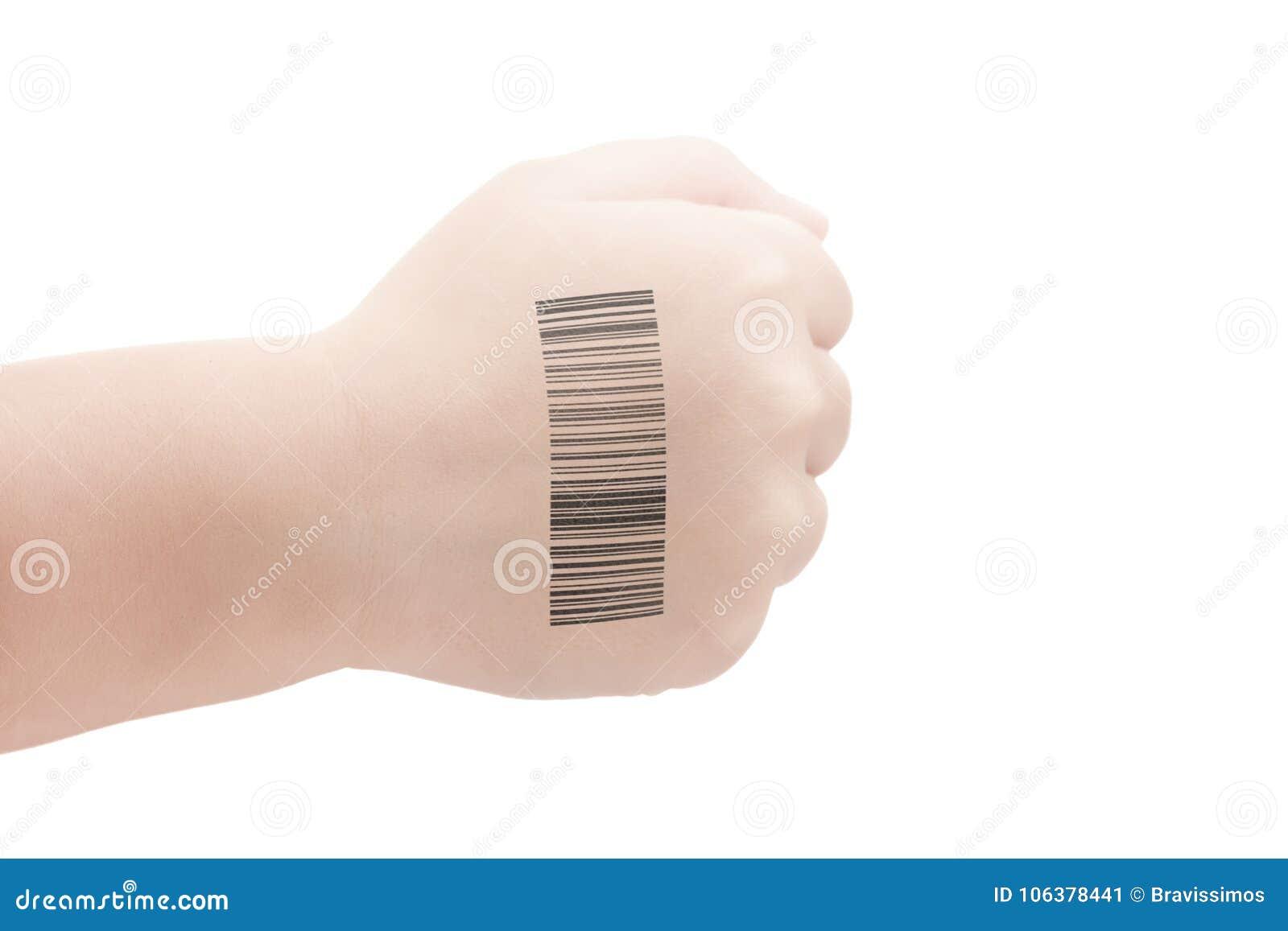 Barnhand med QR-kod av genetiska experiment Klon av DNA:t och den mänskliga genom konstgjord intelligens
