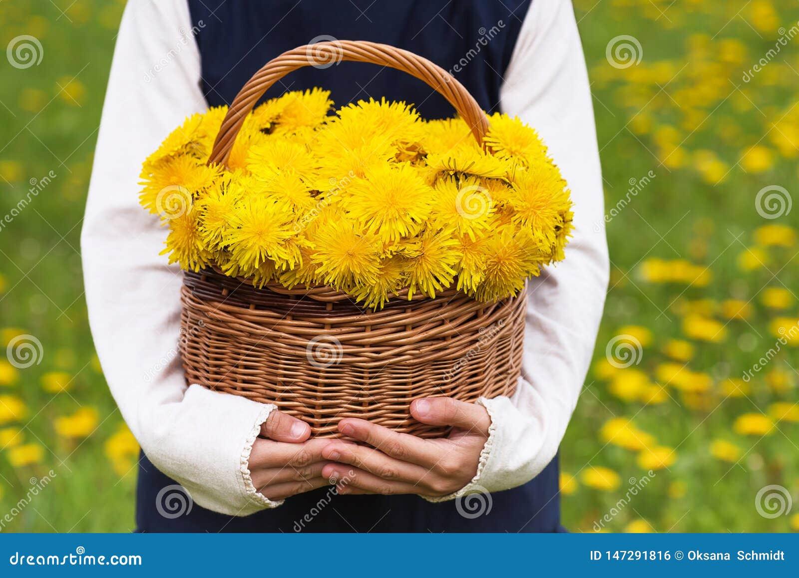 Barninnehavkorg med gula blommor för maskros