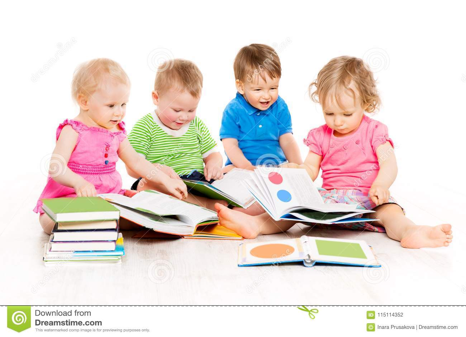 Barnläseböcker, behandla som ett barn tidig utbildning, ungegruppen, vit