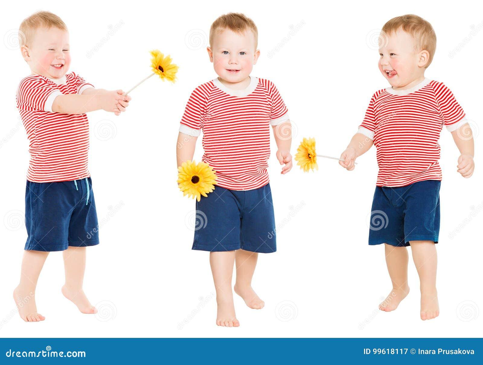 Barnpojke med blomman, lycklig unge som isoleras över vit