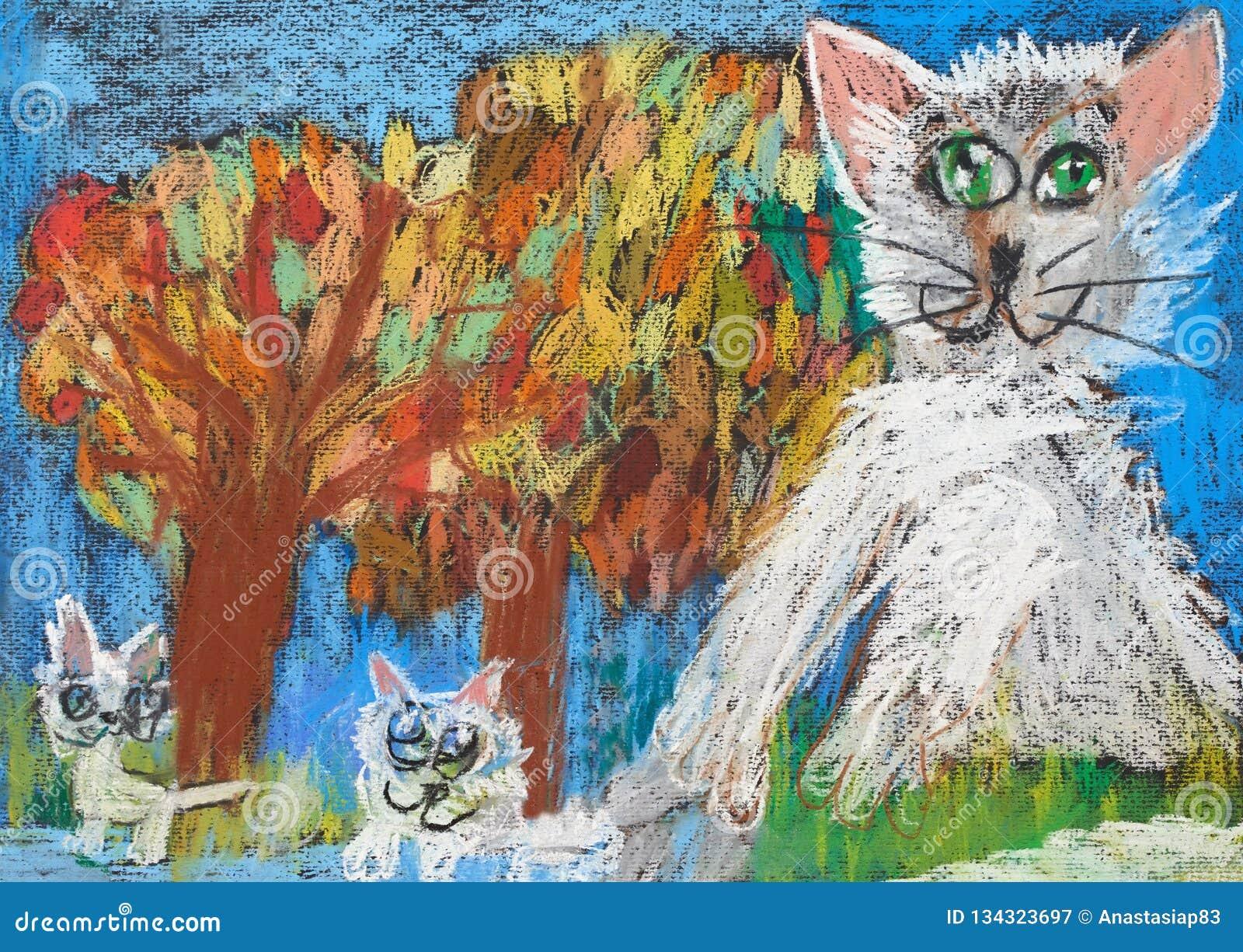 Barnslig teckning av kattfamiljen med två kattungar