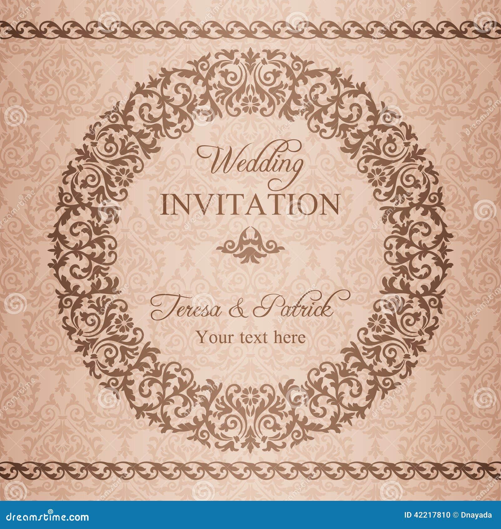 Barock bröllopinbjudan, brunt