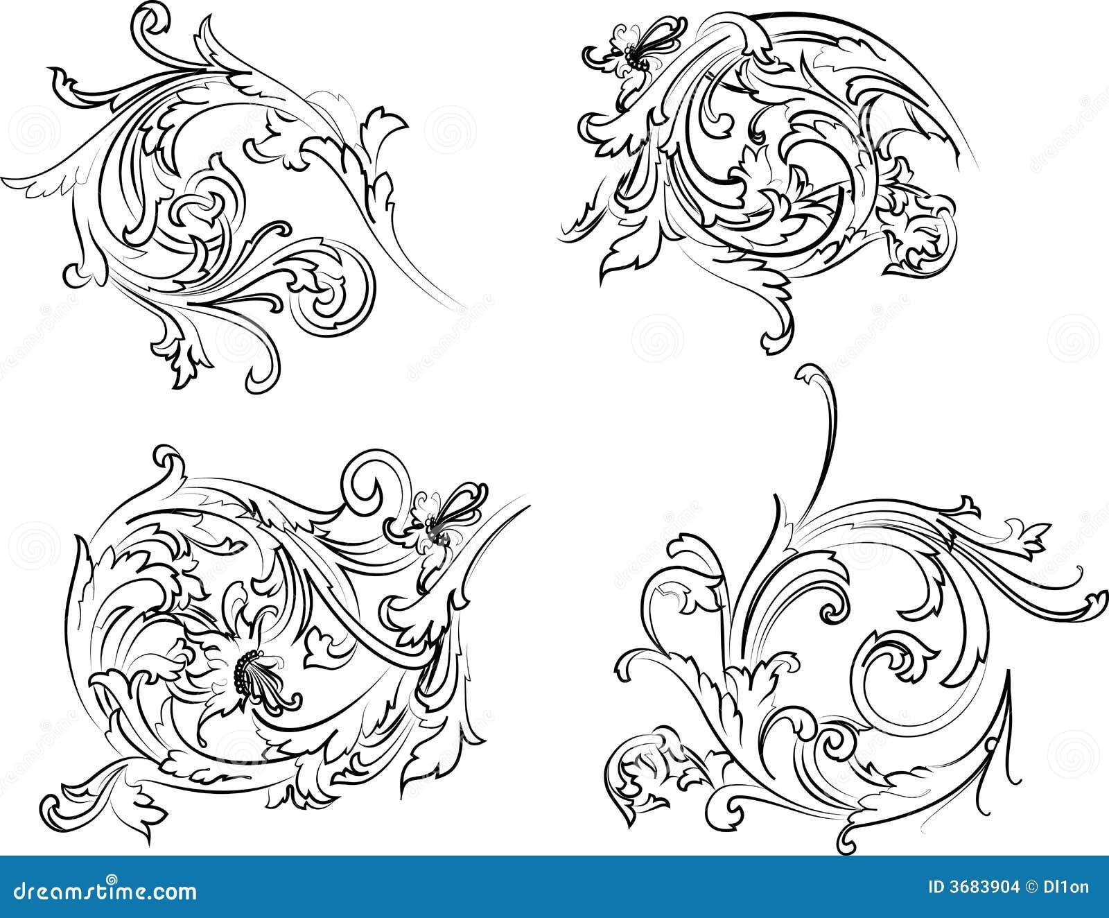 Barock calligraphyrosettestil