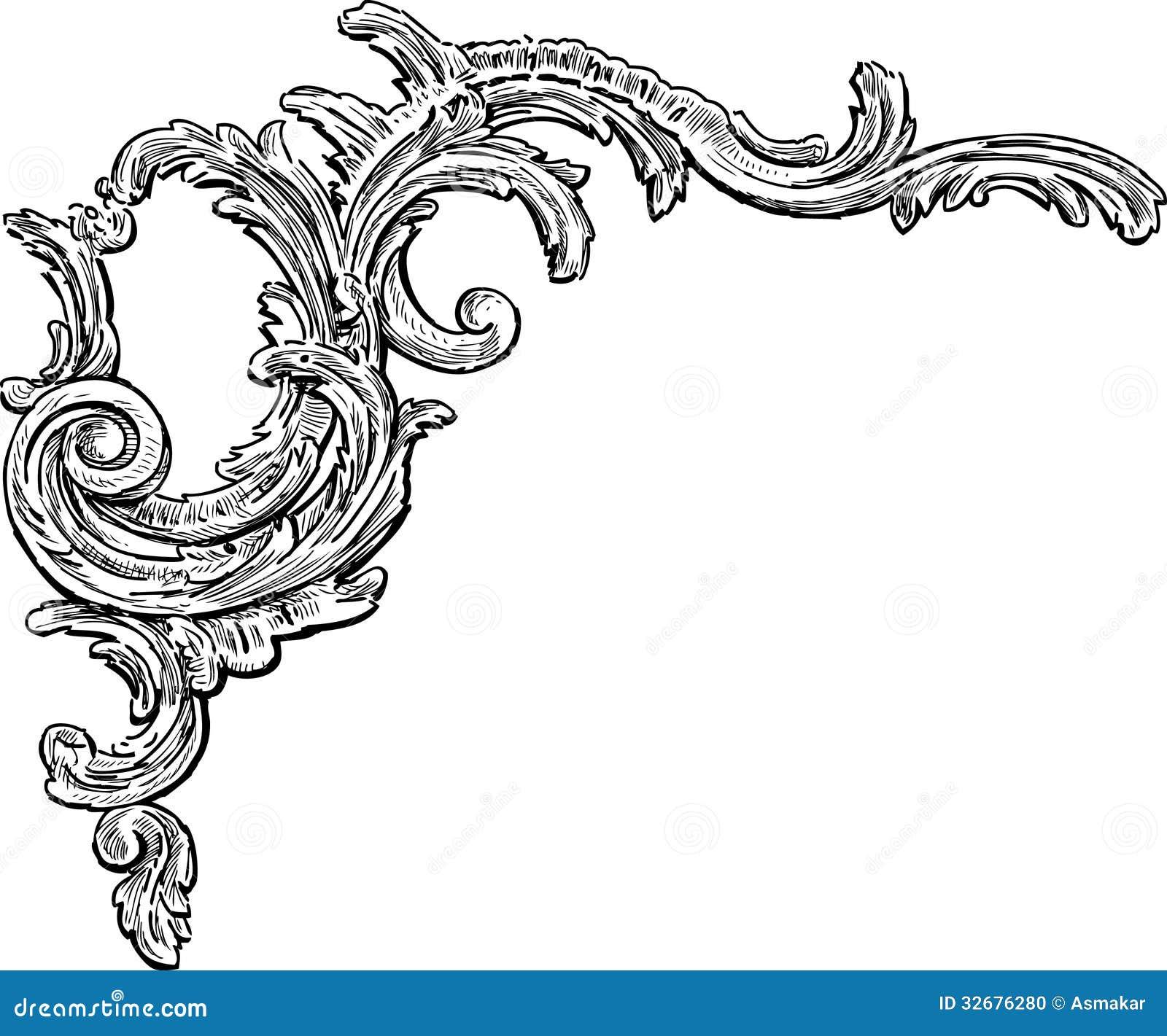 Barock dekorativ beståndsdel