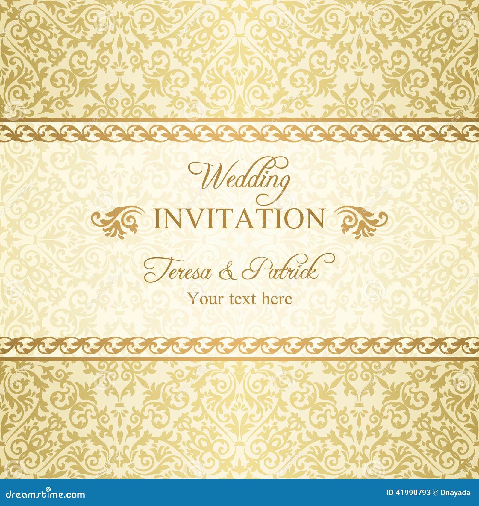 Barocke hochzeitseinladung gold
