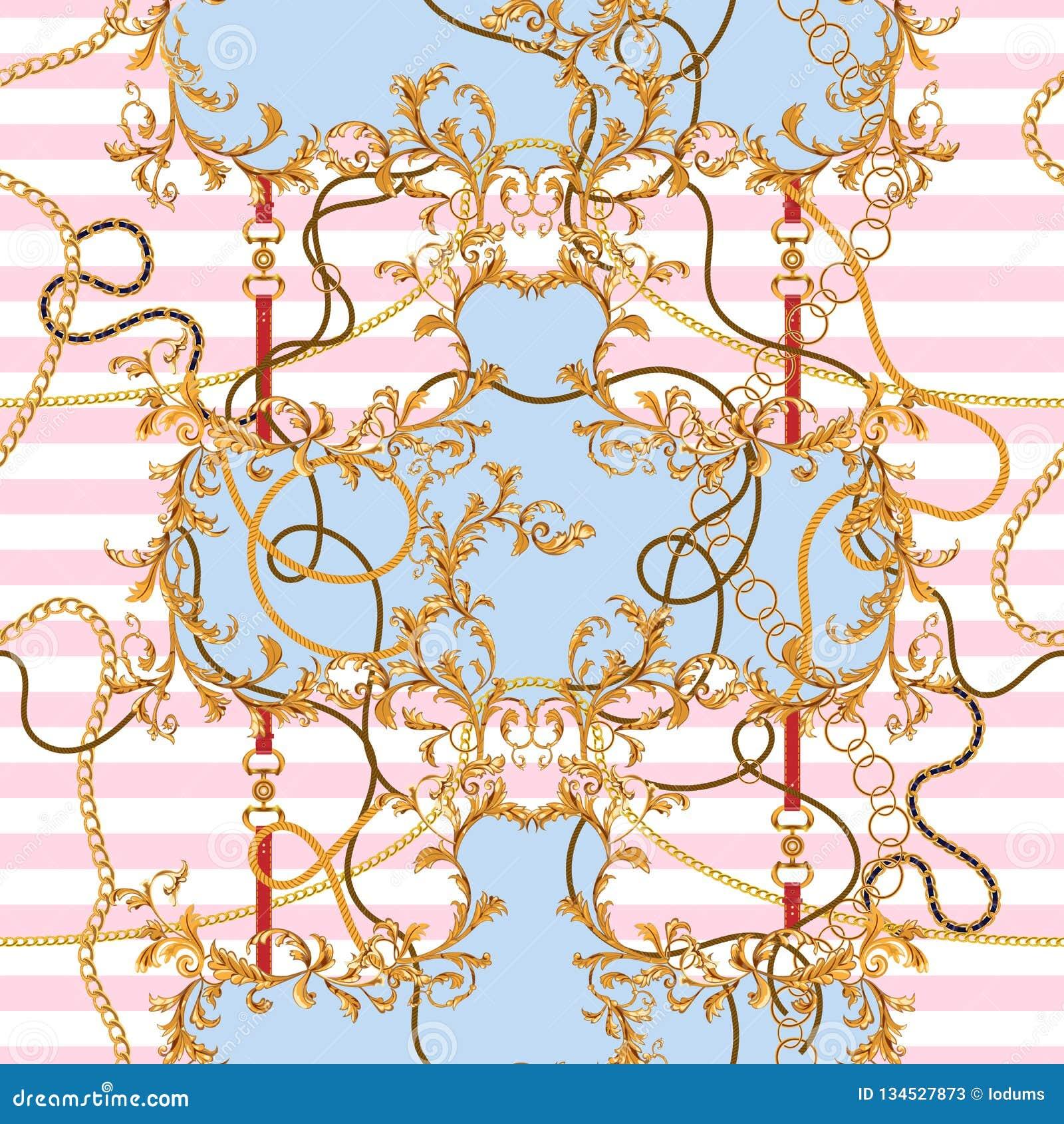 Barok flard met gouden kettingen en riemen Naadloos patroon voor sjaals, druk, stof