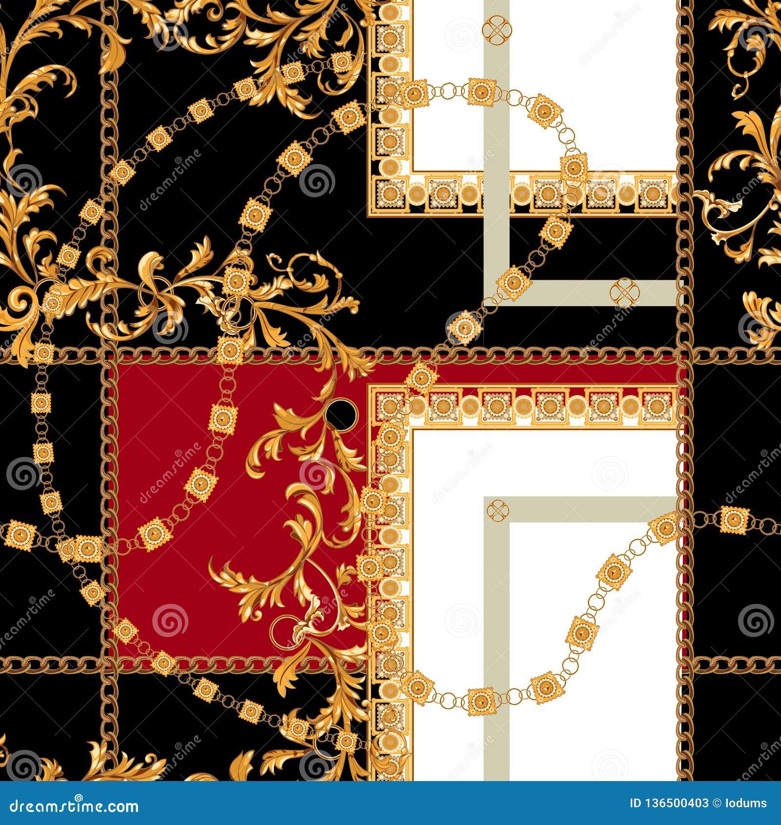 Barok naadloos patroon met kettingen Vectorflard voor druk, stof, sjaal