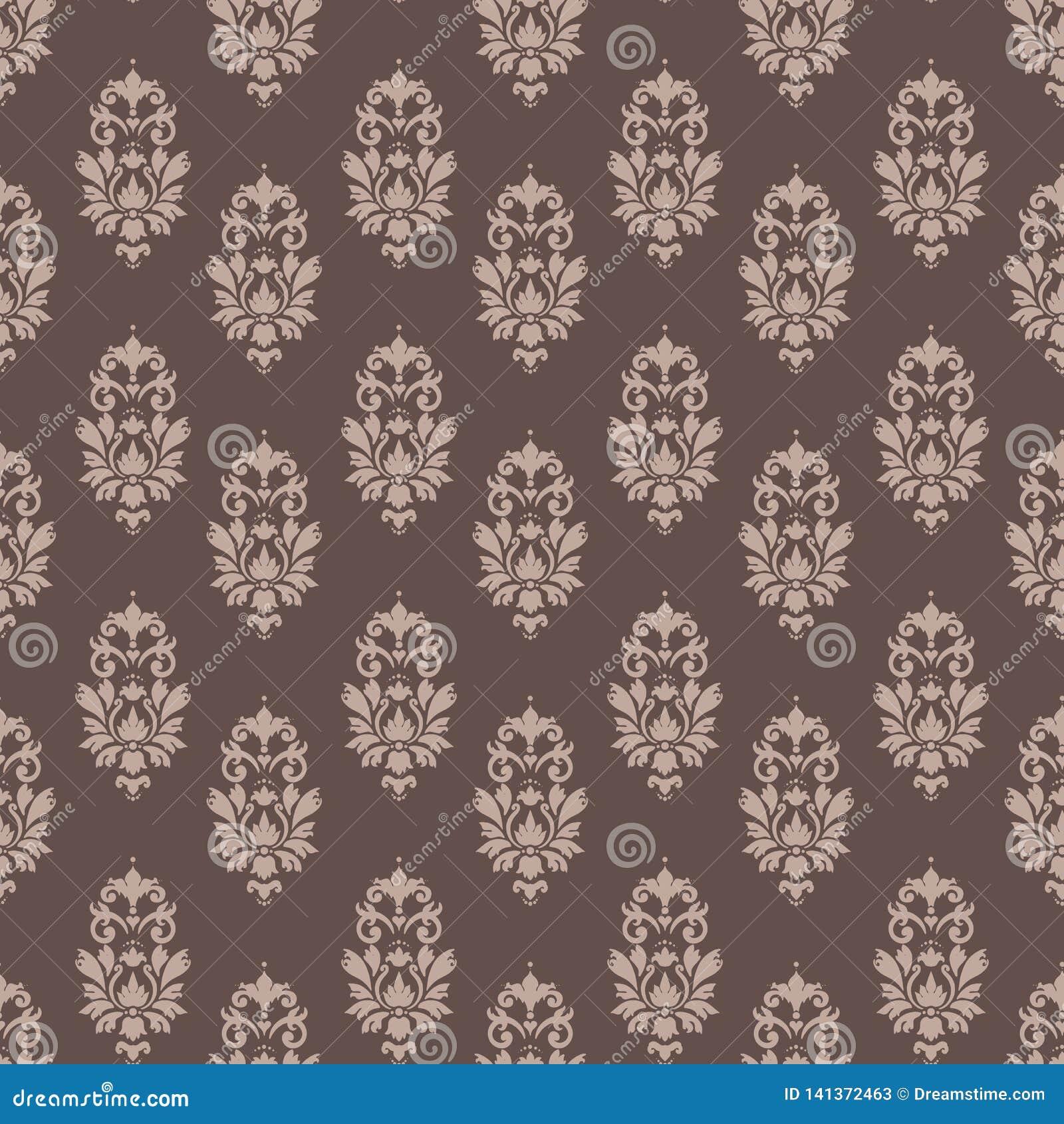 Barokke het damast naadloze koffie en room van het patroonbehang