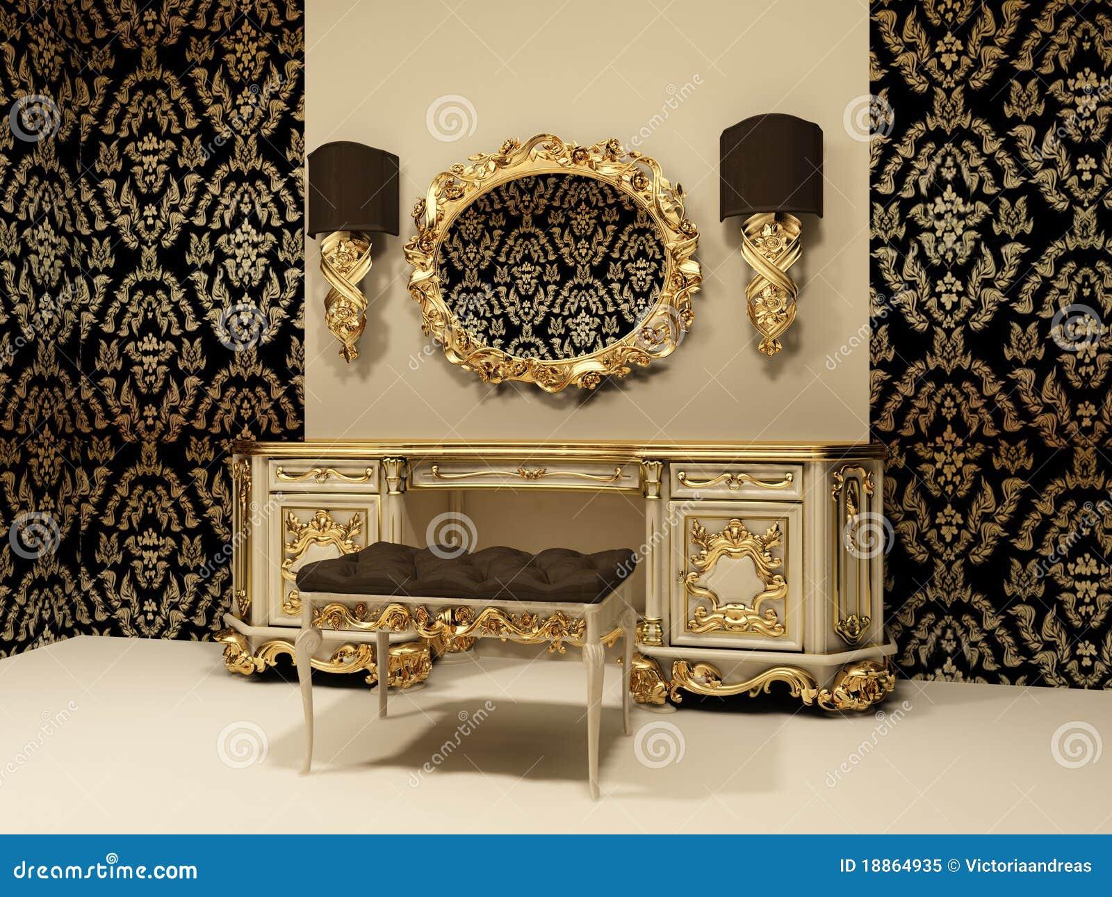 Gouden Barok Spiegel : Barokke lijst met spiegel op behangbackgro stock illustratie