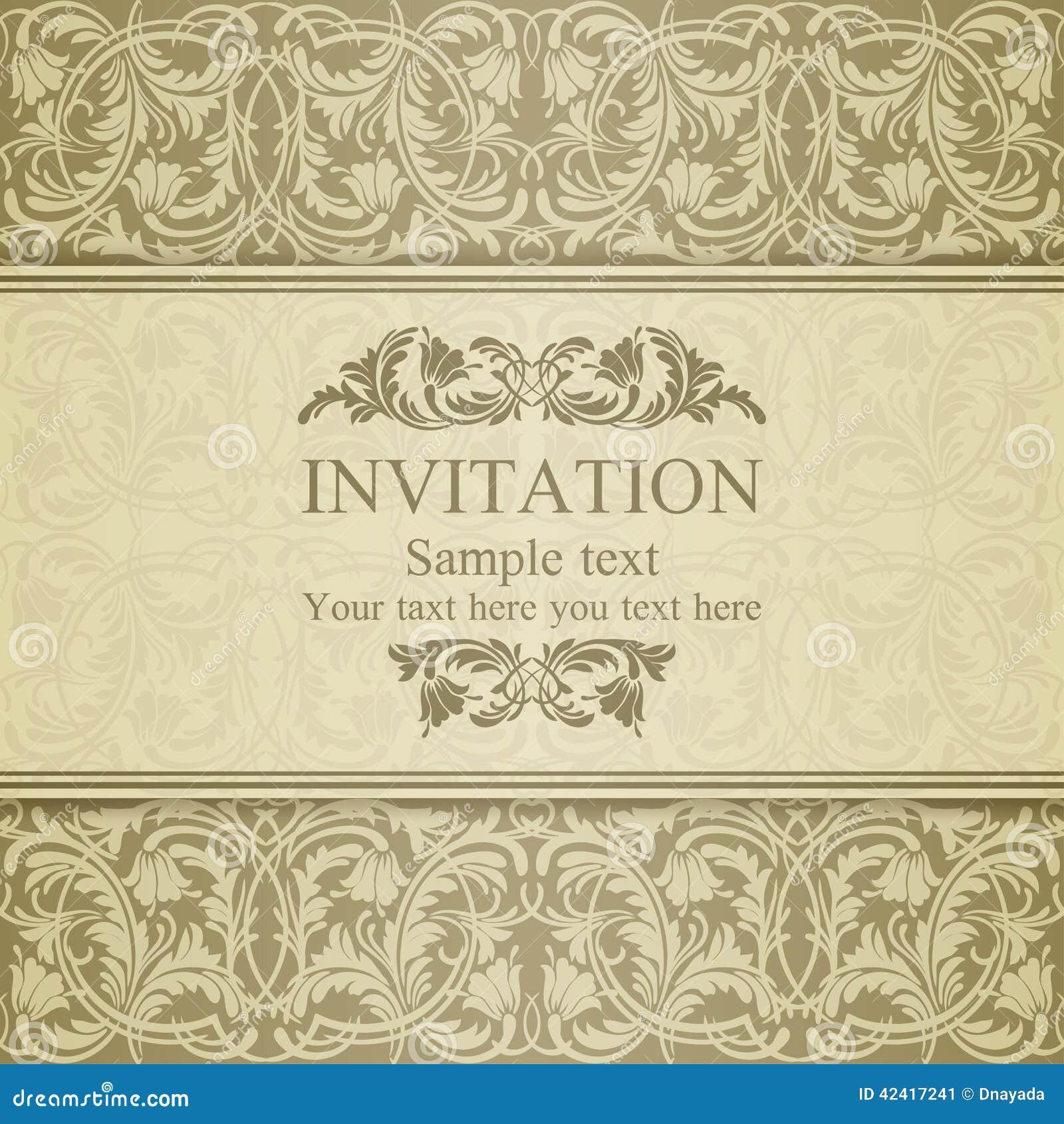 Barokowy zaproszenie, beż