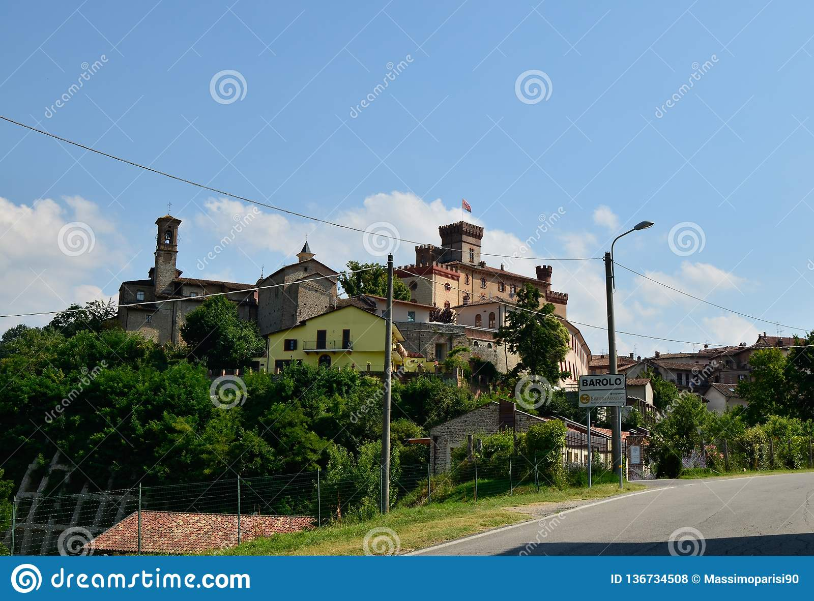 Barolo, province of Cuneo, Piedmont, Italy. July 2018. View on the historical center of Barolo