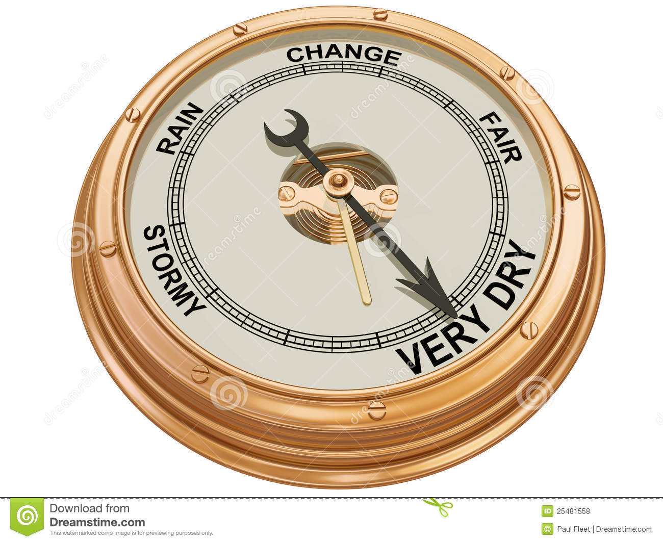 Barometer Indicating Very Dry Weather Royalty Free Stock