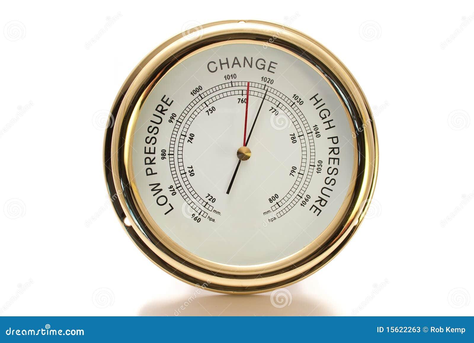 Barometer-Messing mit dem weißen Gesicht getrennt