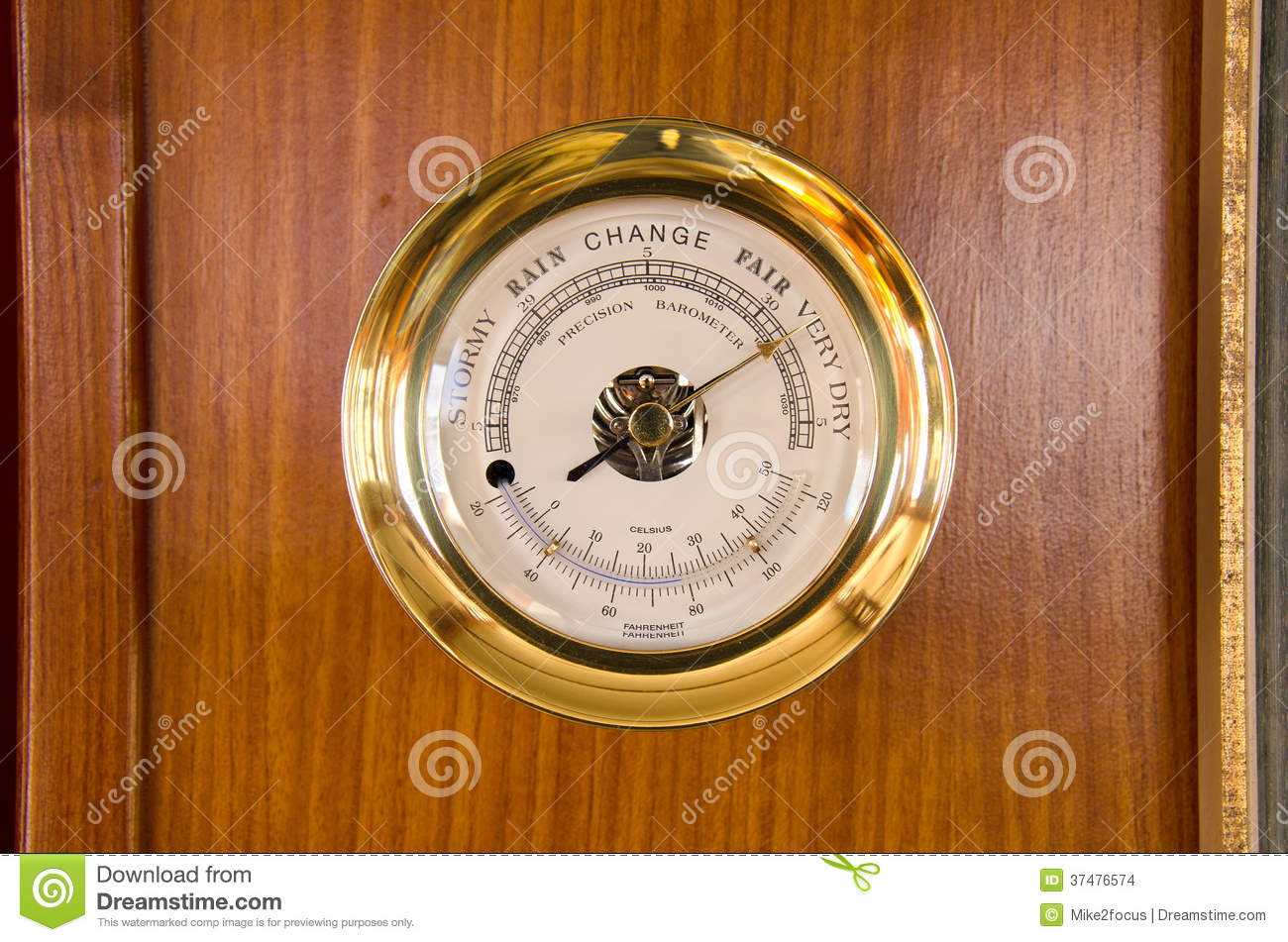 Barometer Thermometer Weather Station On Wood Stock Photo