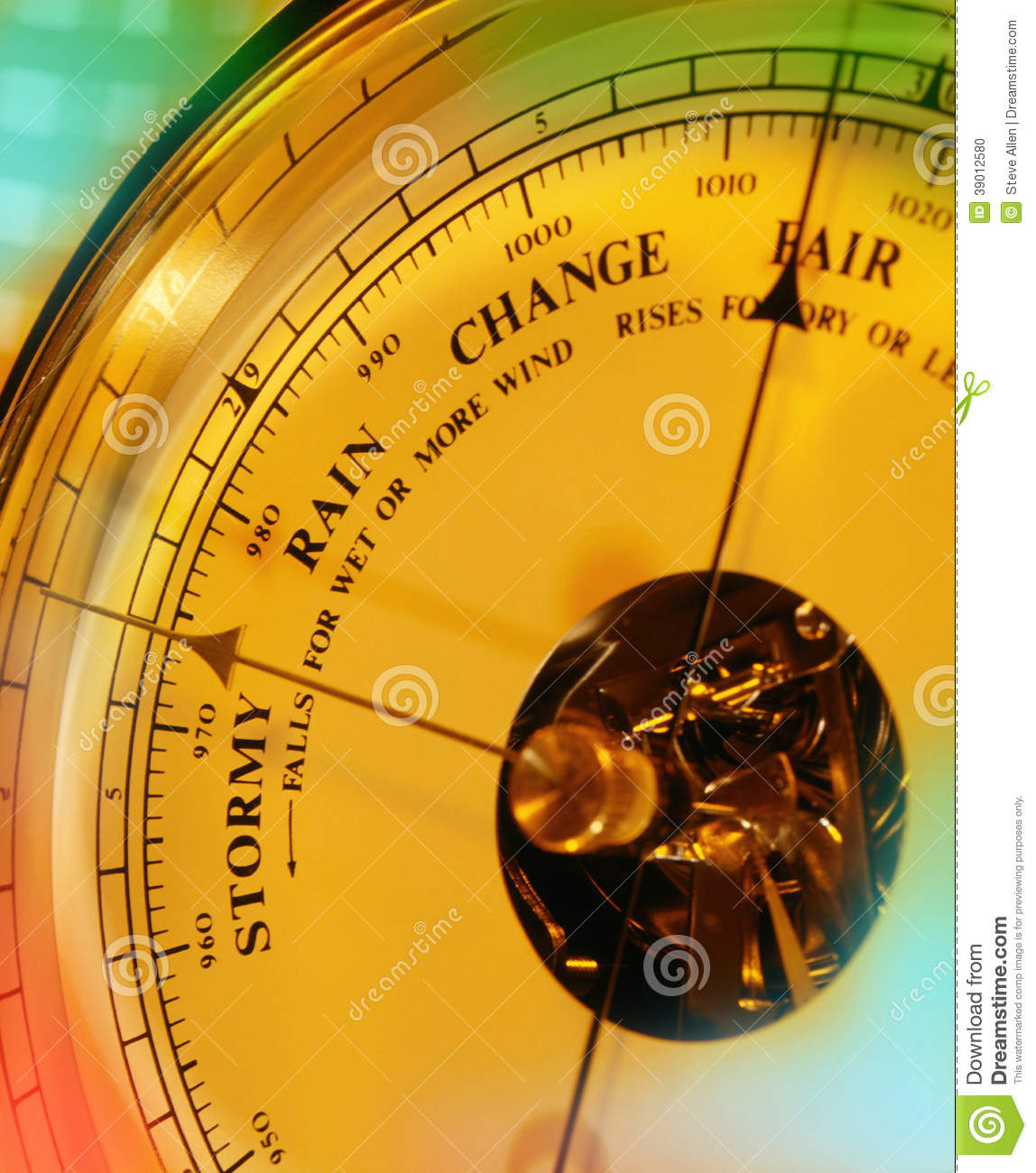 Pressure Measuring Instruments : Aneroid barometer weather forecast stock photo image
