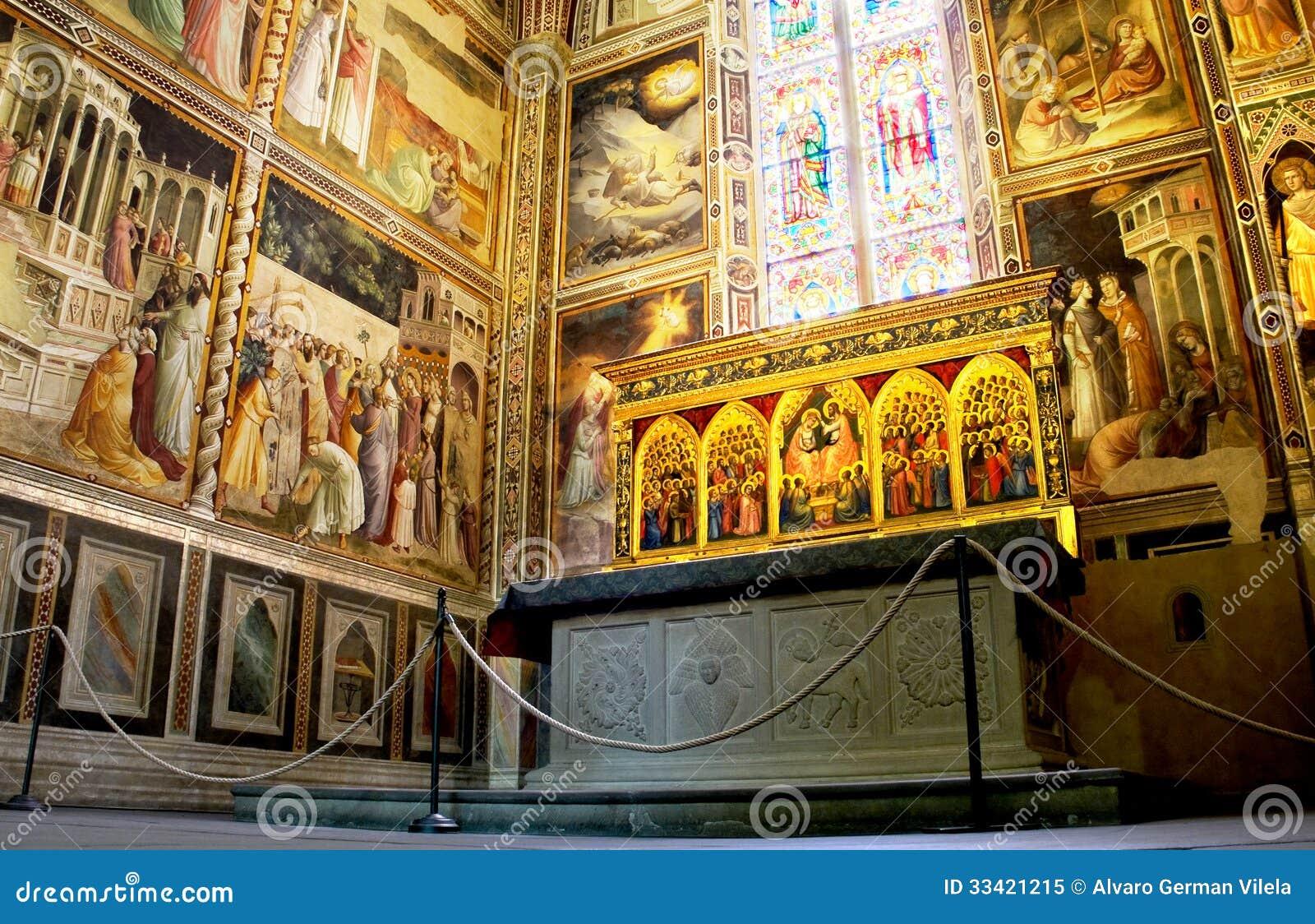 Baroncelli kapell i basilikadi Santa Croce. Florence Italien