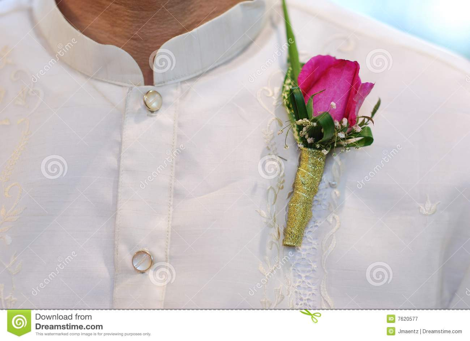 Barong胸衣粉红色他加禄人婚礼
