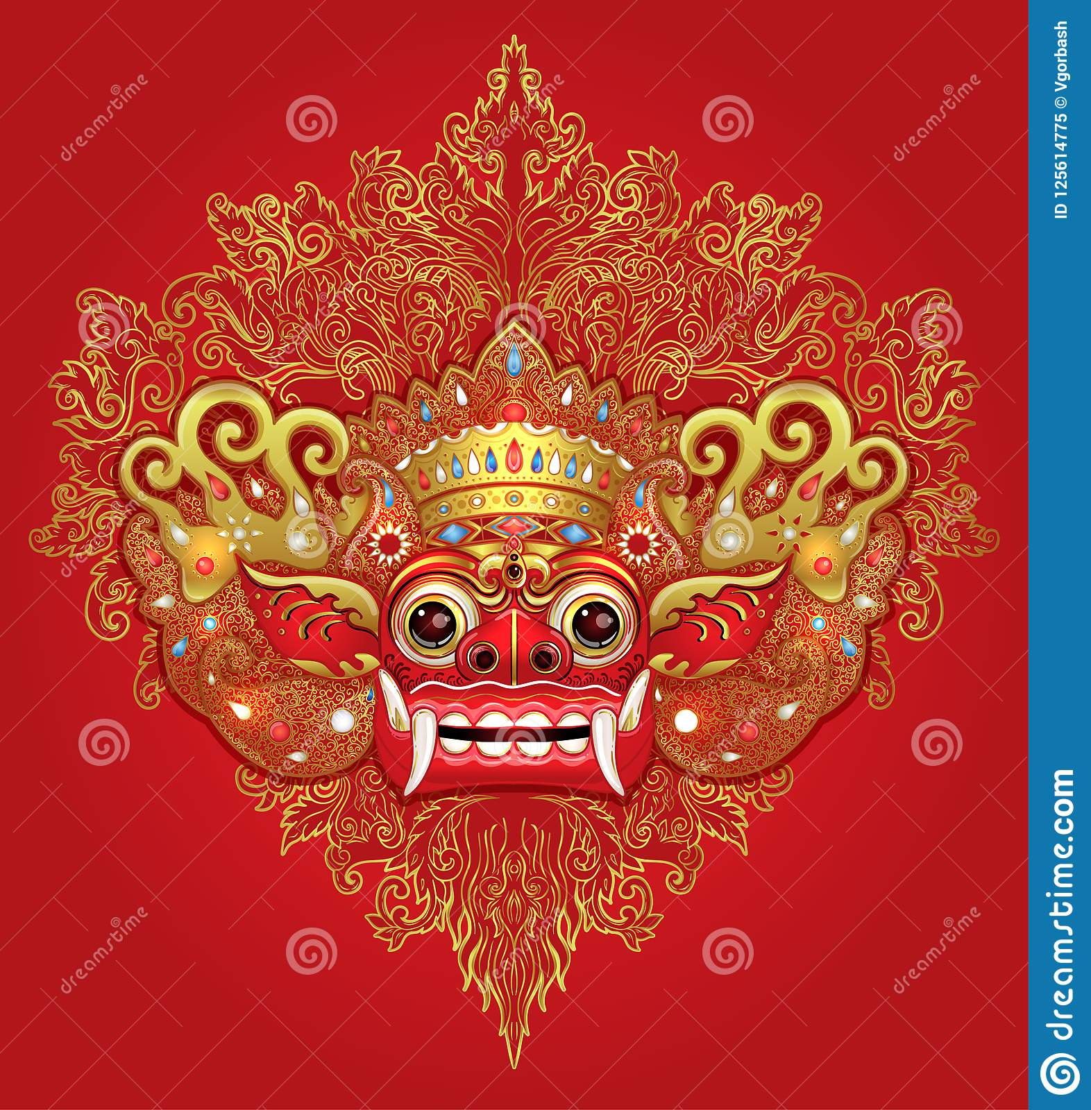Barong Traditional Ritual Balinese Mask Vector Color