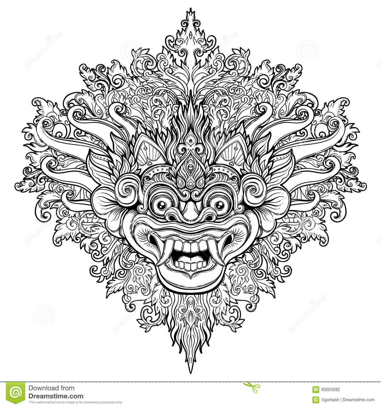 Barong. Traditional ritual Balinese mask. Vector decorative ornate outline illustration isolated. Hindu ethnic symbol, tattoo art