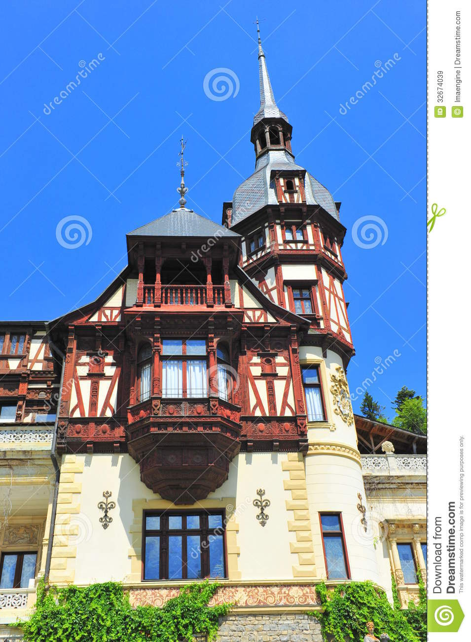 Baroque architectural style of peles castle royalty free for Baroque architecture elements