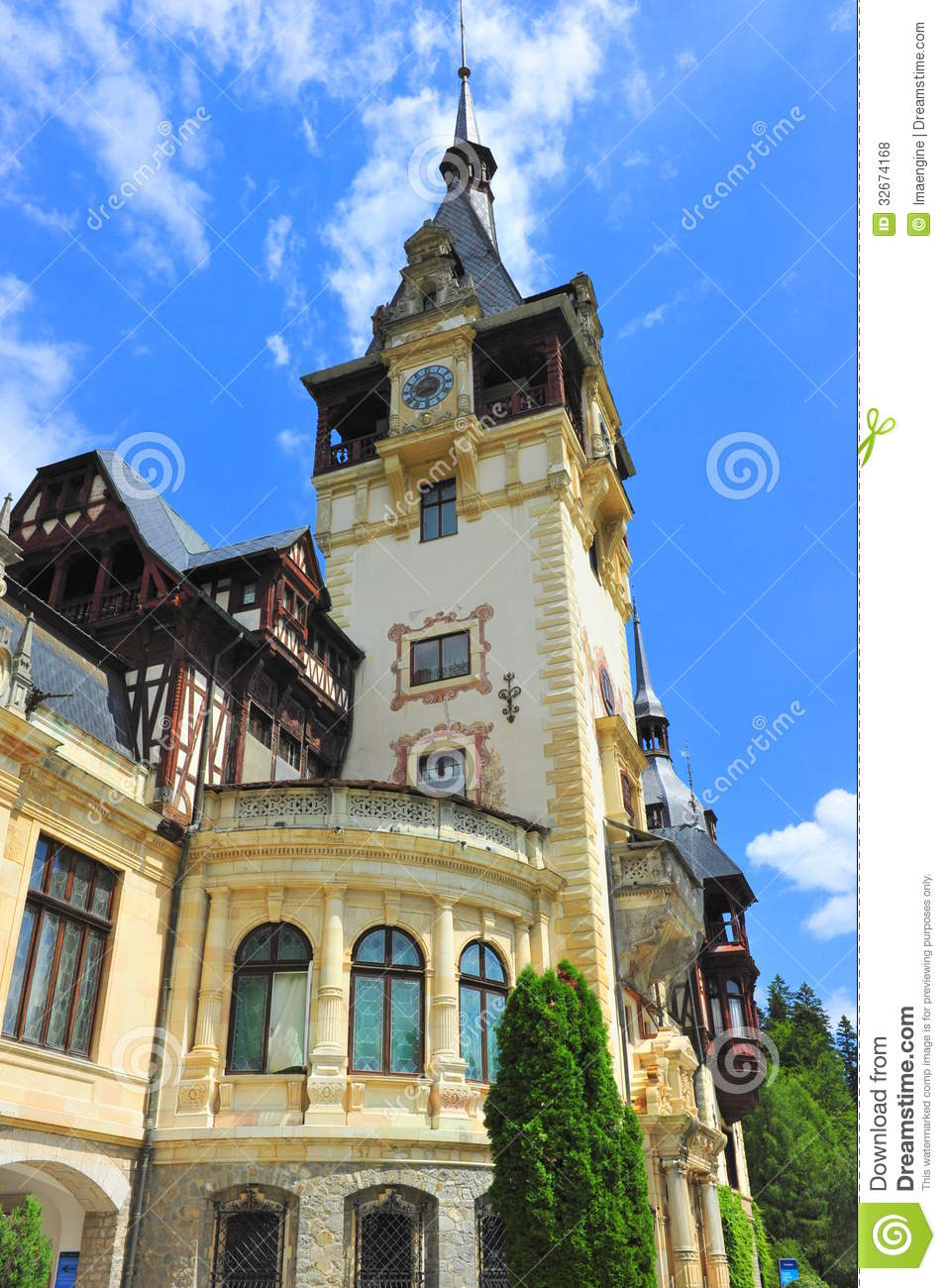 Baroque architectural style of peles castle stock photo for Baroque architecture elements