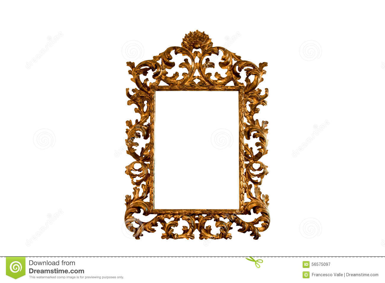 Baroque Basswood Gold Mirror Frame Stock Image - Image of wood ...