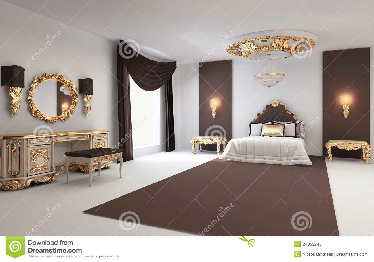 Baroque bedroom with golden furniture interior royalty for Bedroom interior furniture
