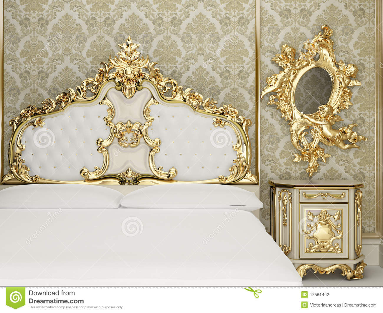 Baroque bedroom suite in royal interior. Old styled interior. Golden