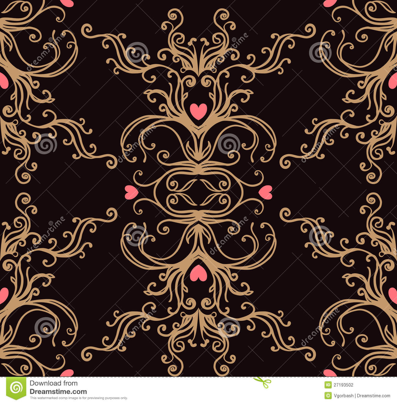 Baroque Black And Gold Vintage Background Stock