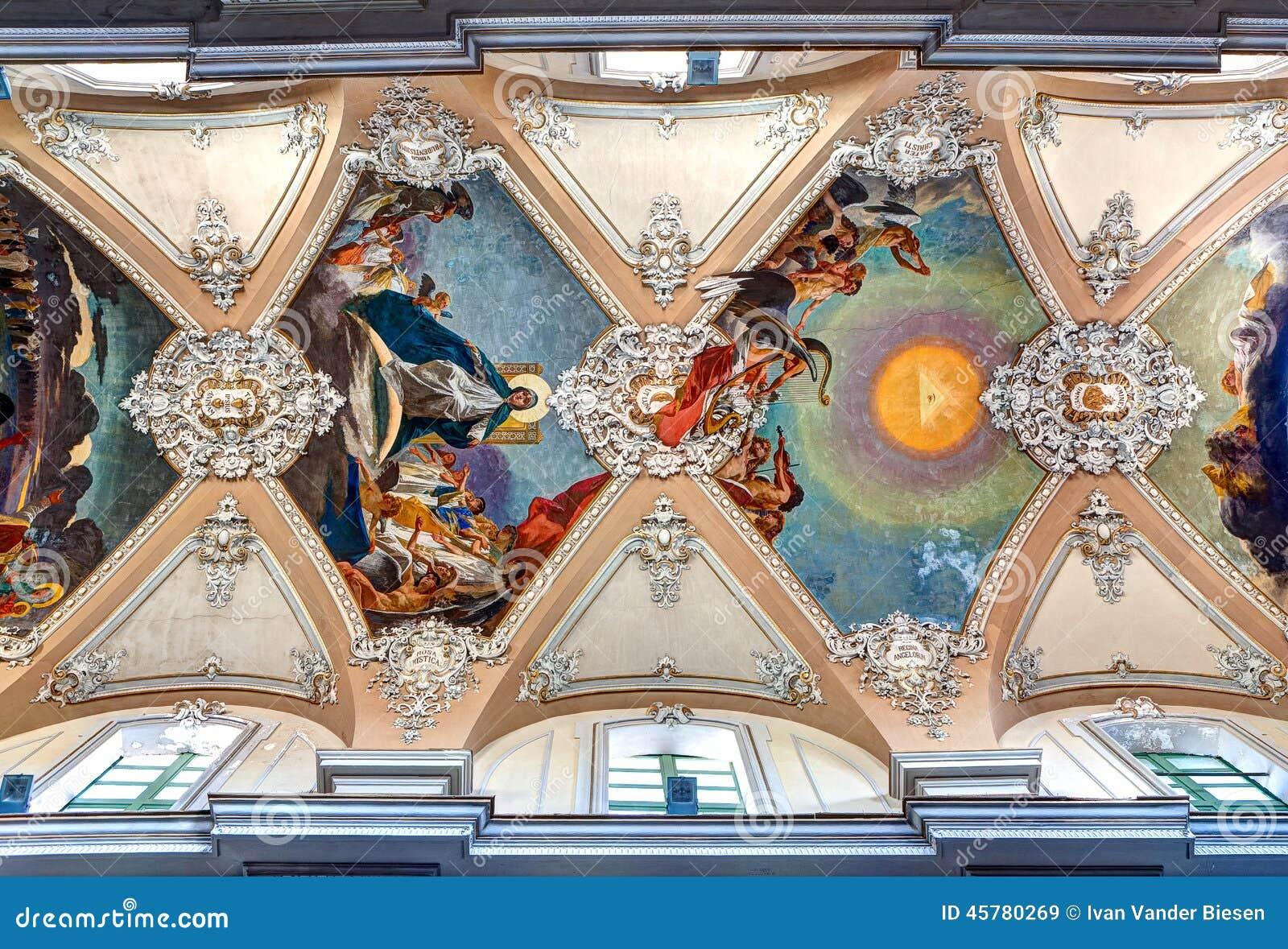 Baroque ceiling Basilica della Collegiata, Catania, Sicily, Italy