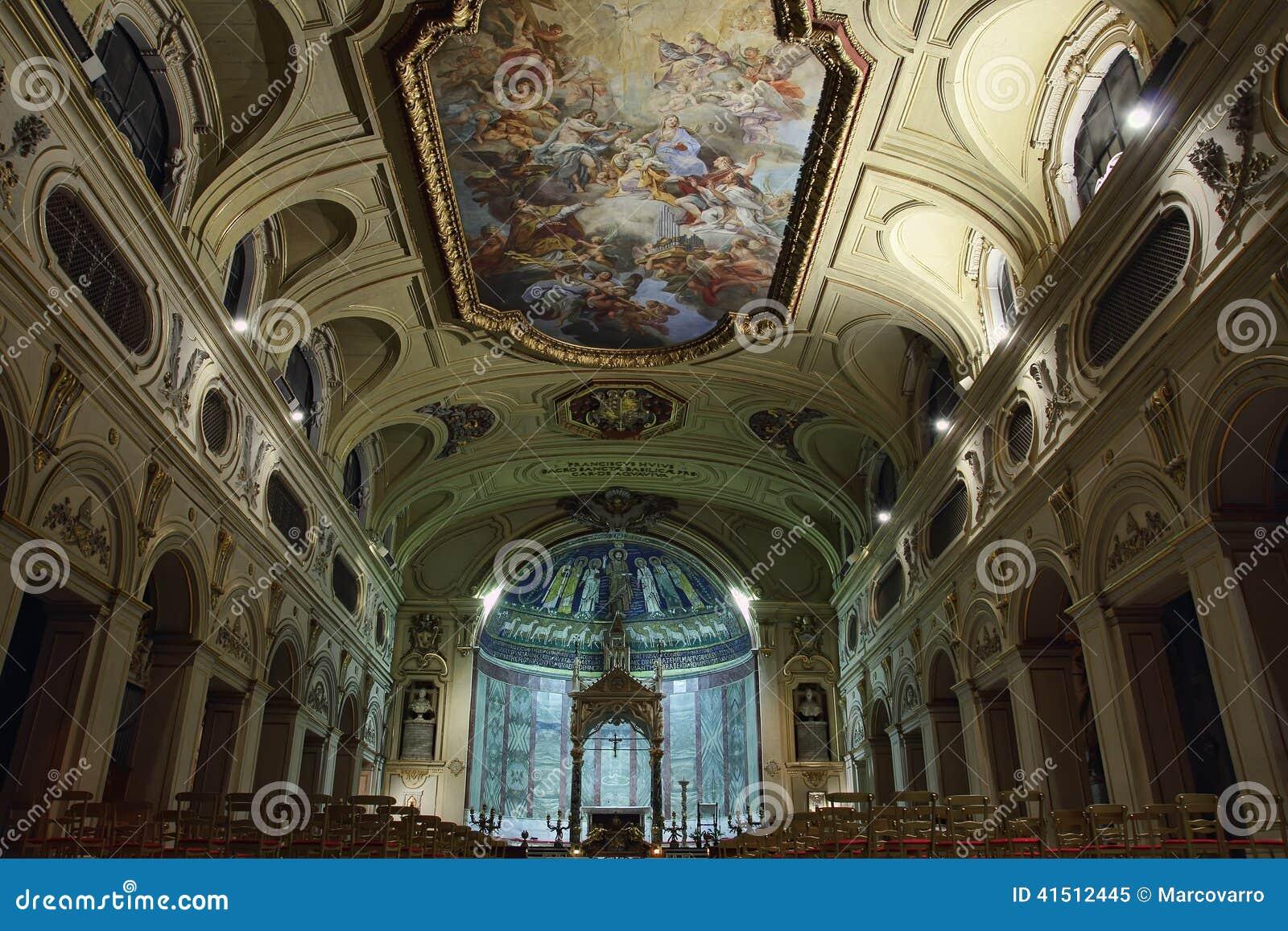 Baroque ceiling fresco in santa cecilia church rome italy baroque ceiling fresco in santa cecilia church rome italy royalty free stock photo dailygadgetfo Image collections