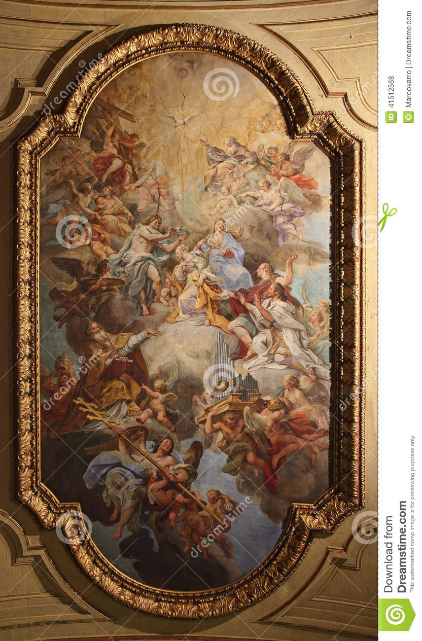 Baroque Ceiling Fresco In Santa Cecilia Church Rome